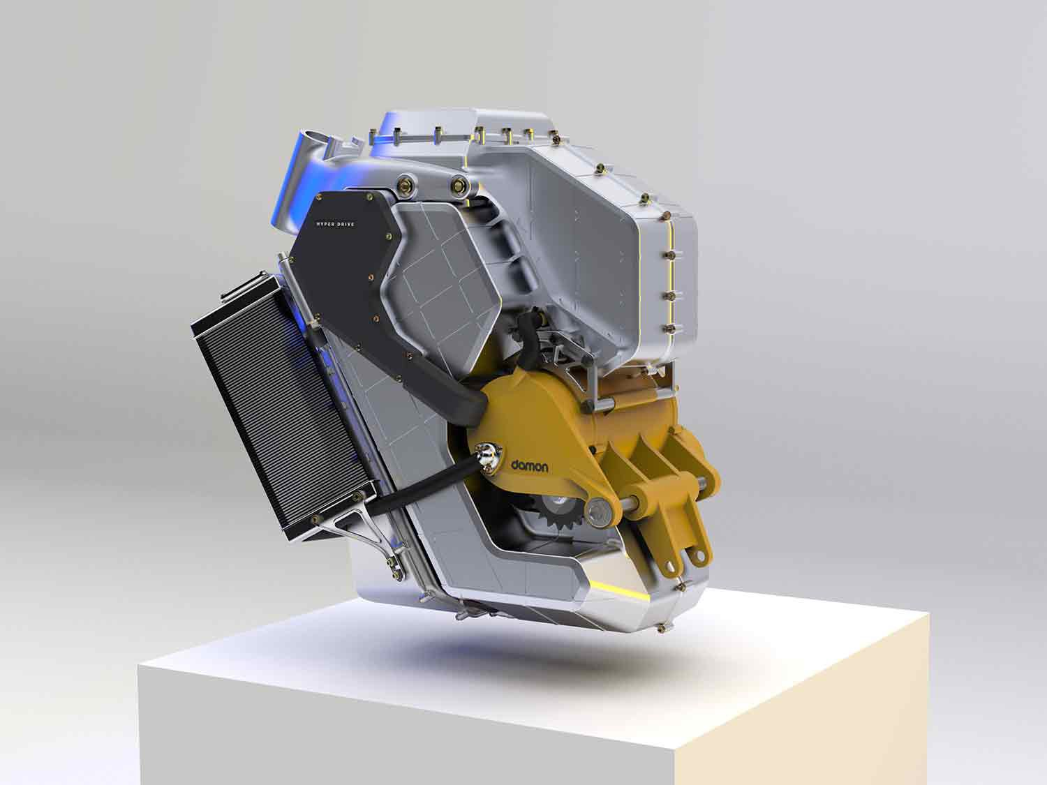 Taking the place of the traditional load-bearing frame, HyperDrive is Damon's new multi-platform, load-bearing powertrain.