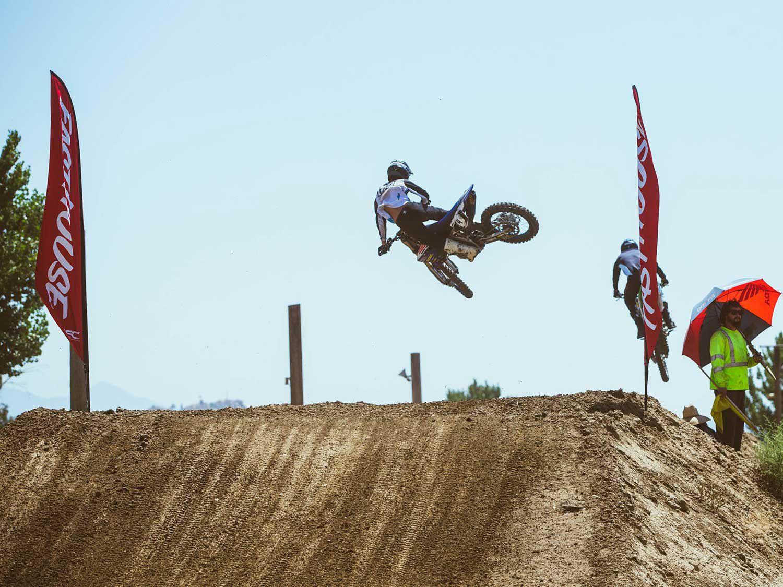 California racers RJ Wageman and Ricky Yorks battle for position at Milestone Motocross Park.