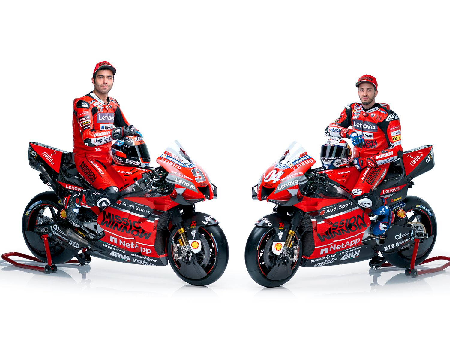 Riding the red and black Mission Winnow Desmosedici GP20 racebikes will be Andrea Dovizioso (#04), the 2019 championship runner-up, and Danilo Petrucci (#9) who finished sixth in the 2019 championship.