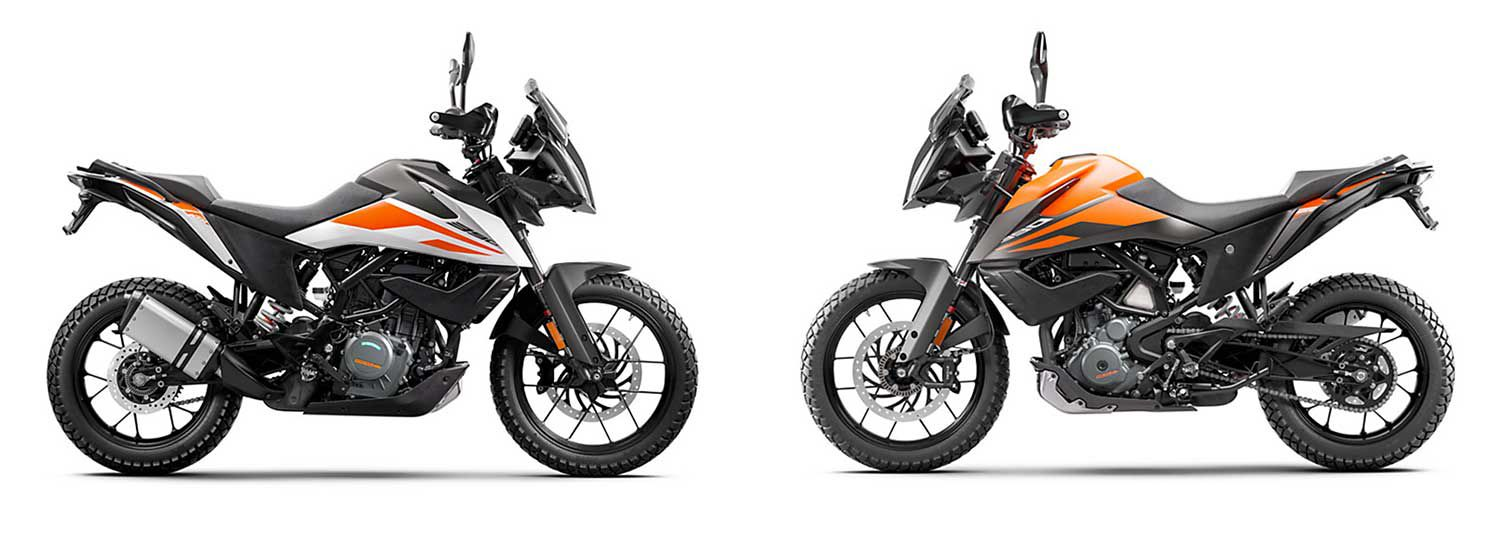 <strong>Left:</strong> KTM moved the bar with its 390 Adventure. <strong>Right:</strong> This is going to be a big competitor in the class.
