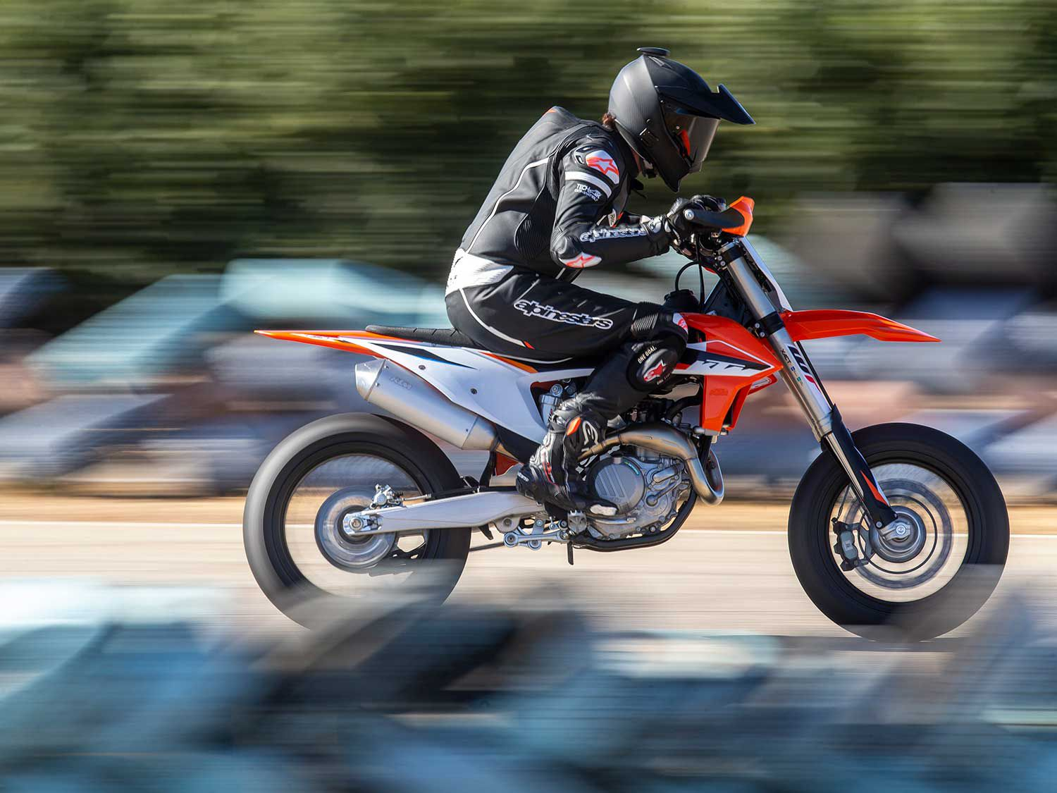 Supermoto riders who would rather spend their time riding rather than working on their homemade garage creation will appreciate the work KTM engineers did building a properly prepped and functional supermoto.
