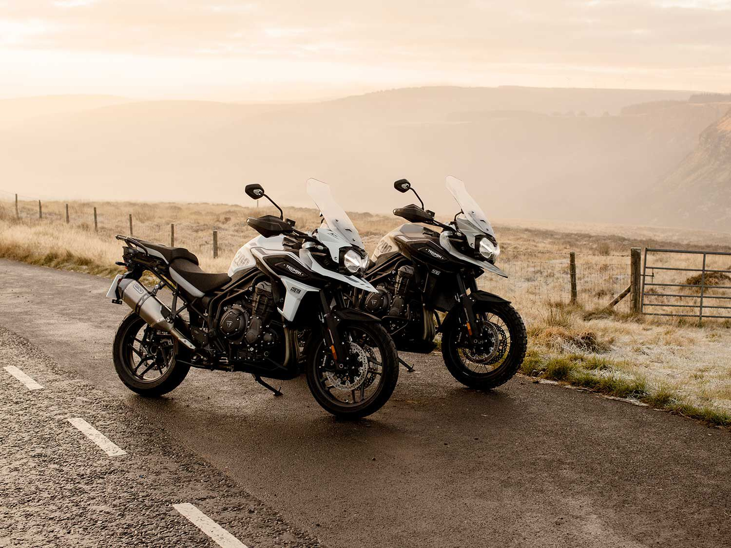 Both of these special-edition Tiger models feature keyless ignition, cruise control, electrically adjustable windscreen, heated grips, and multiple power sockets.