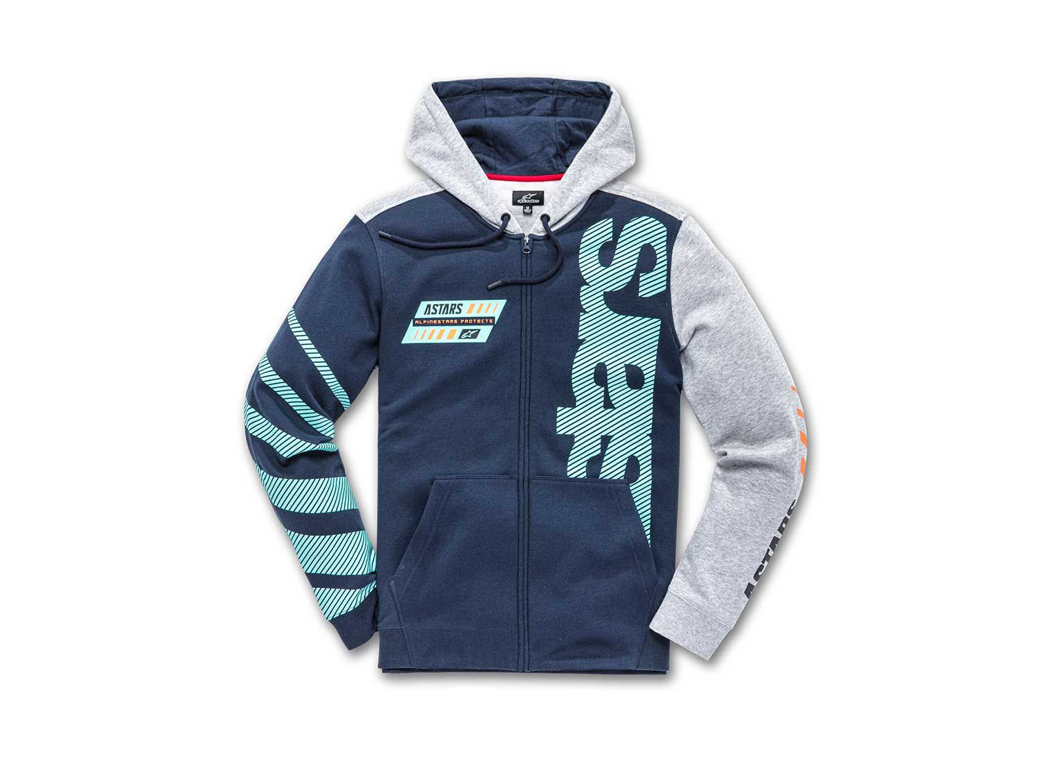 """The <a  href=""""https://www.amazon.com/Alpinestars-Mens-Hoody-Large-Black/dp/B07VGJGZKN/ref=as_li_ss_tl?ie=UTF8&linkCode=sl1&tag=mcy01-20&linkId=250304c8d13a656cf43a4635a00f0a35&language=en_US"""">Fan Club Hoodie</a> is made from an 80 percent cotton and 20 percent polyester blend fabric, featuring a zip front, ribbed cuffs, and an engineered chest graphic to complement the prints utilized on each sleeve."""
