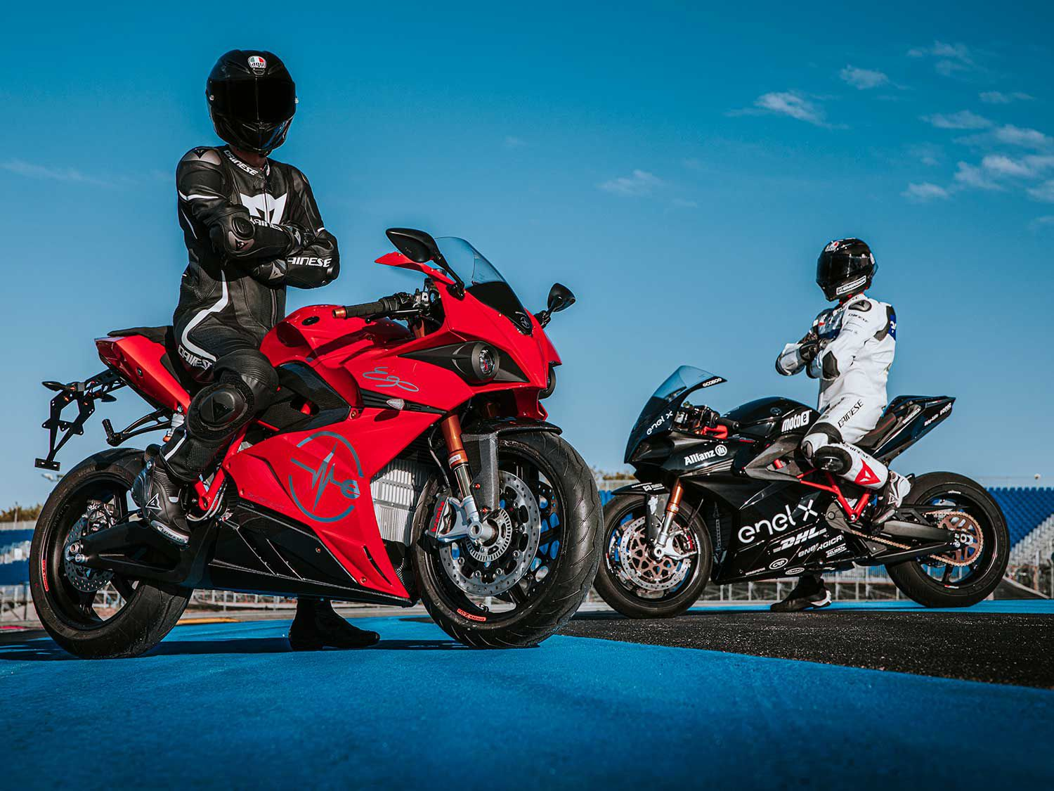 The Rosso Corsa red version of the 2020 Energica Ego+ has the sportiest look of the three color options, but the Ego Sport Black version pays homage to the MotoE Energica Corsa livery.