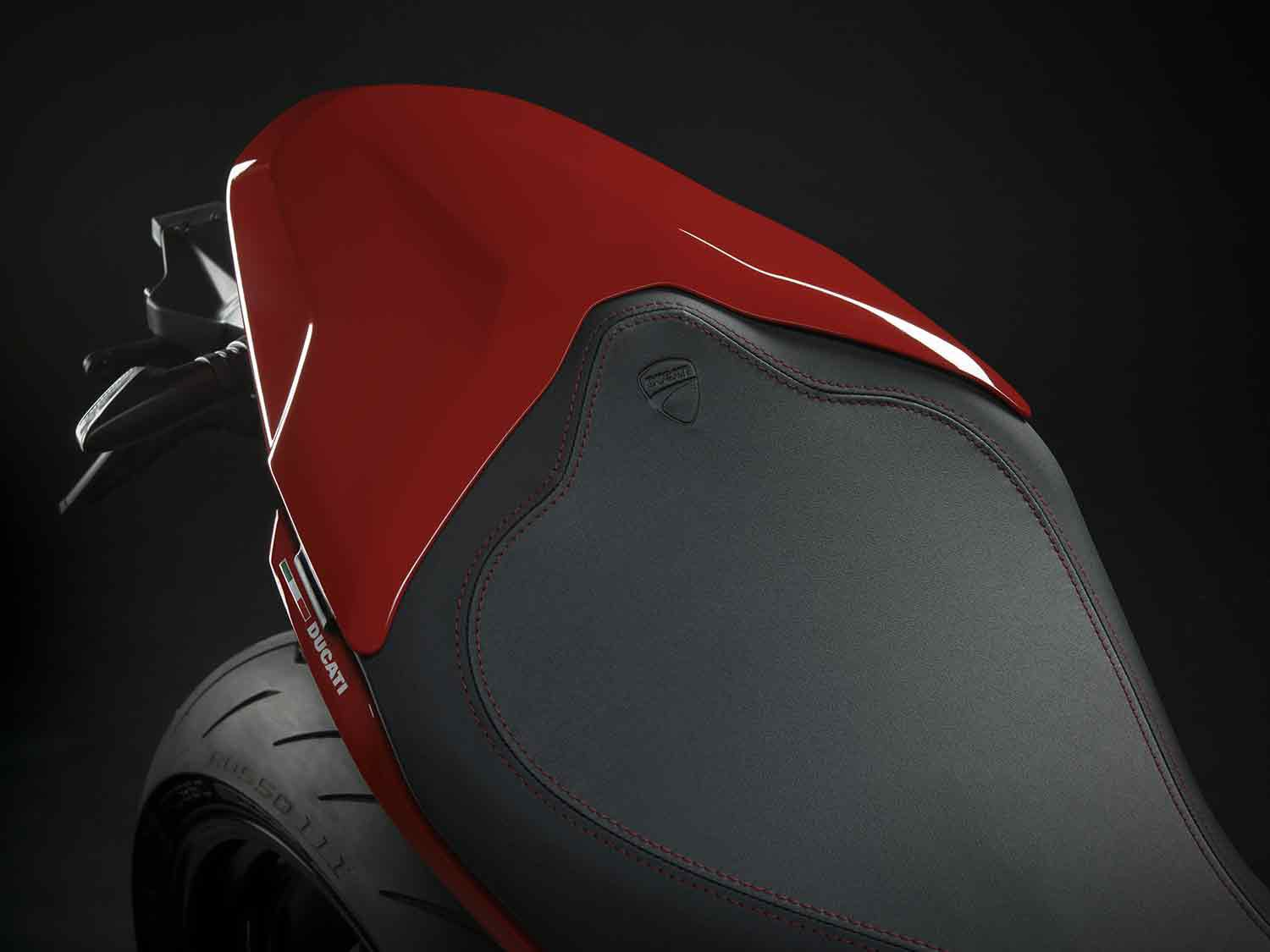 The SuperSport comes well equipped for two-up riding but can be had with a rear seat cover for solo days.
