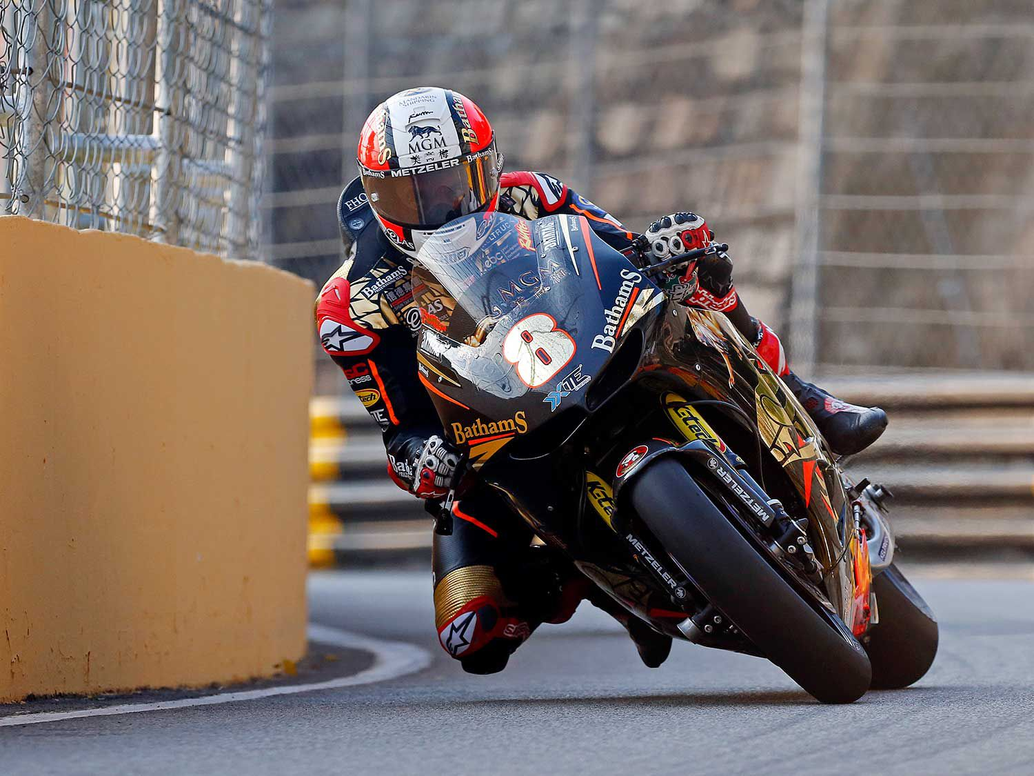 Close enough? Michael Rutter deals with a standard corner in Macau.
