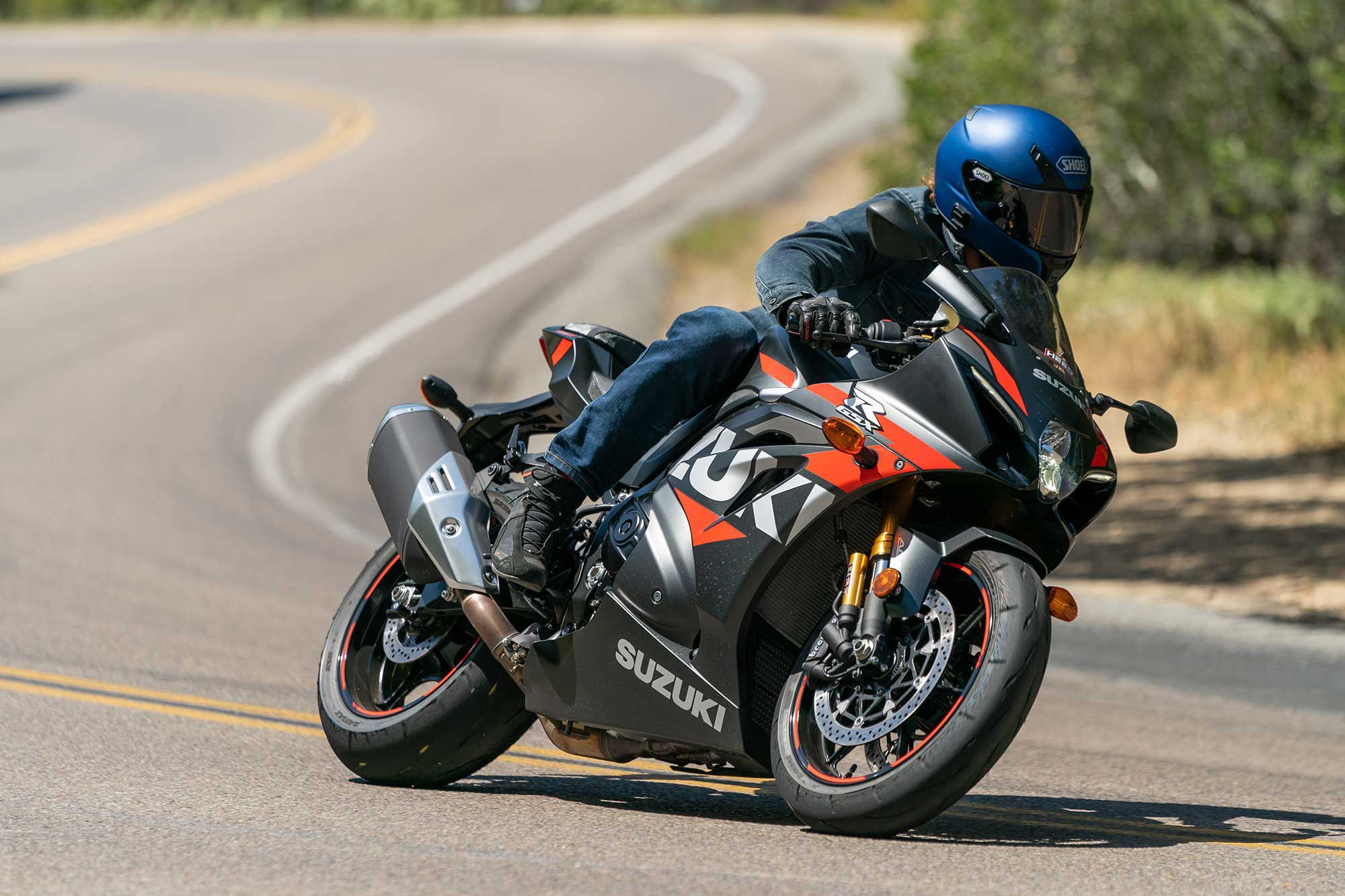 Suzuki's GSX-R1000R impresses with its high-level of agility. It dances well for a 445-pound motorcycle.