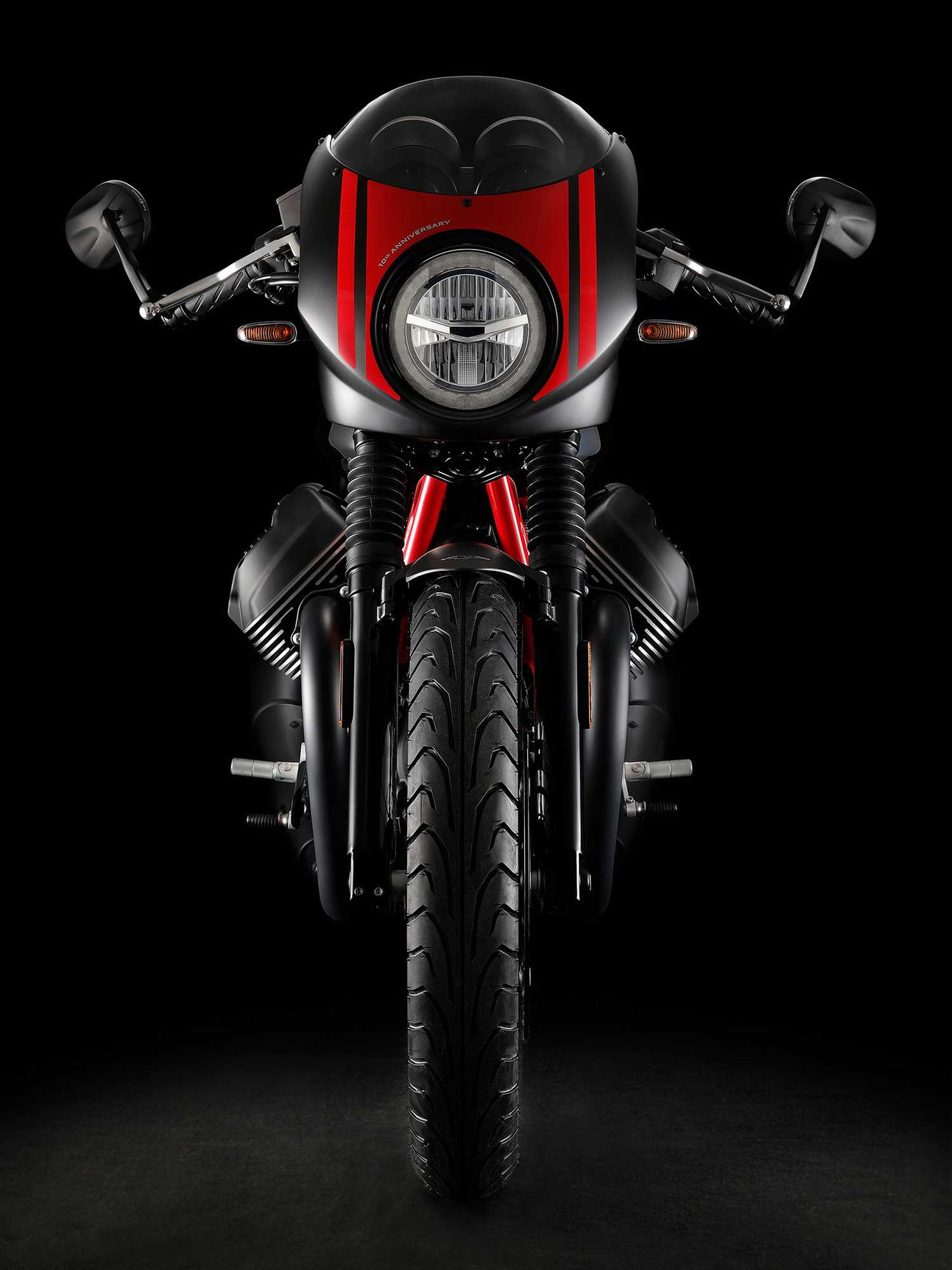 A new LED headlight is joined by LED turn and taillights, while a set of new bar-end mirrors make their debut on the Moto Guzzi's unmistakable profile.