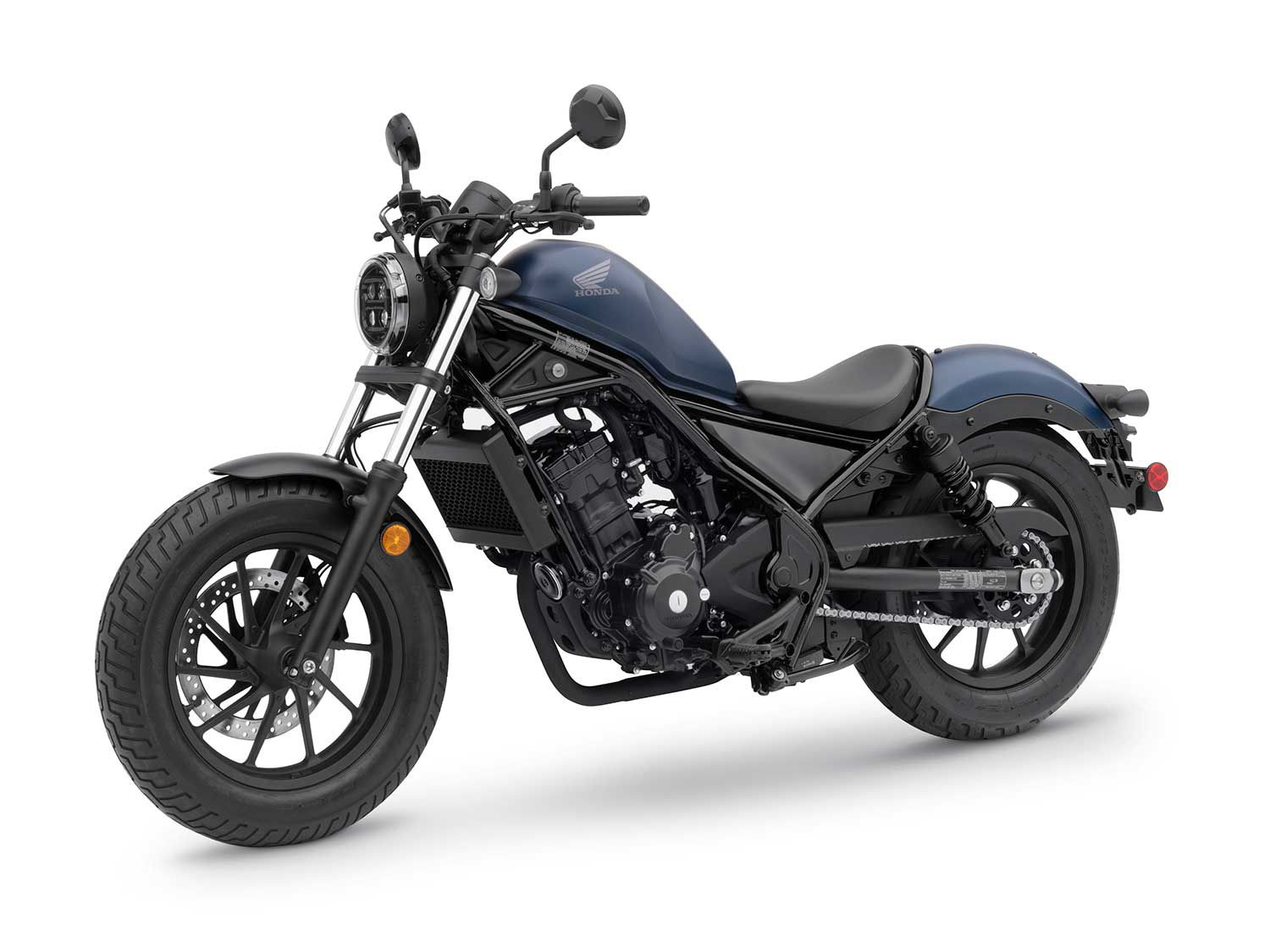 The Honda Rebel 300 comes into 2020 with updated suspension inners and this Matte Blue Jean Metallic paint scheme.