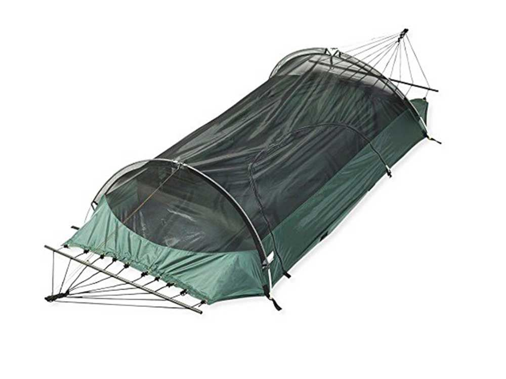 Unique and versatile, this option gets you high and dry in the trees with its hammock setup or down on the ground when set up as a tent. Weight capacity is listed at 275 pounds.
