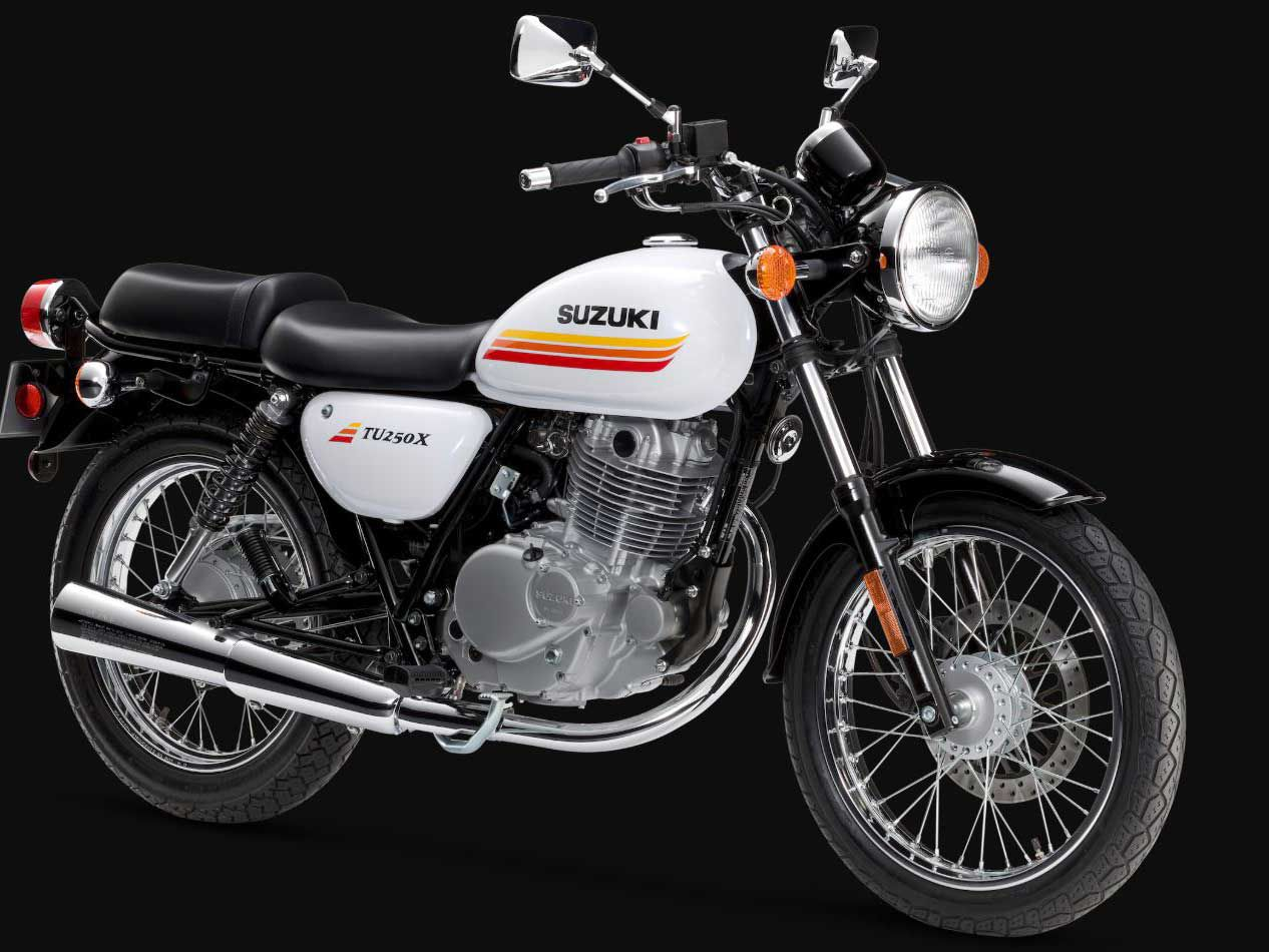 The Suzuki TU250X embodies the nostalgic UJM aesthetic.