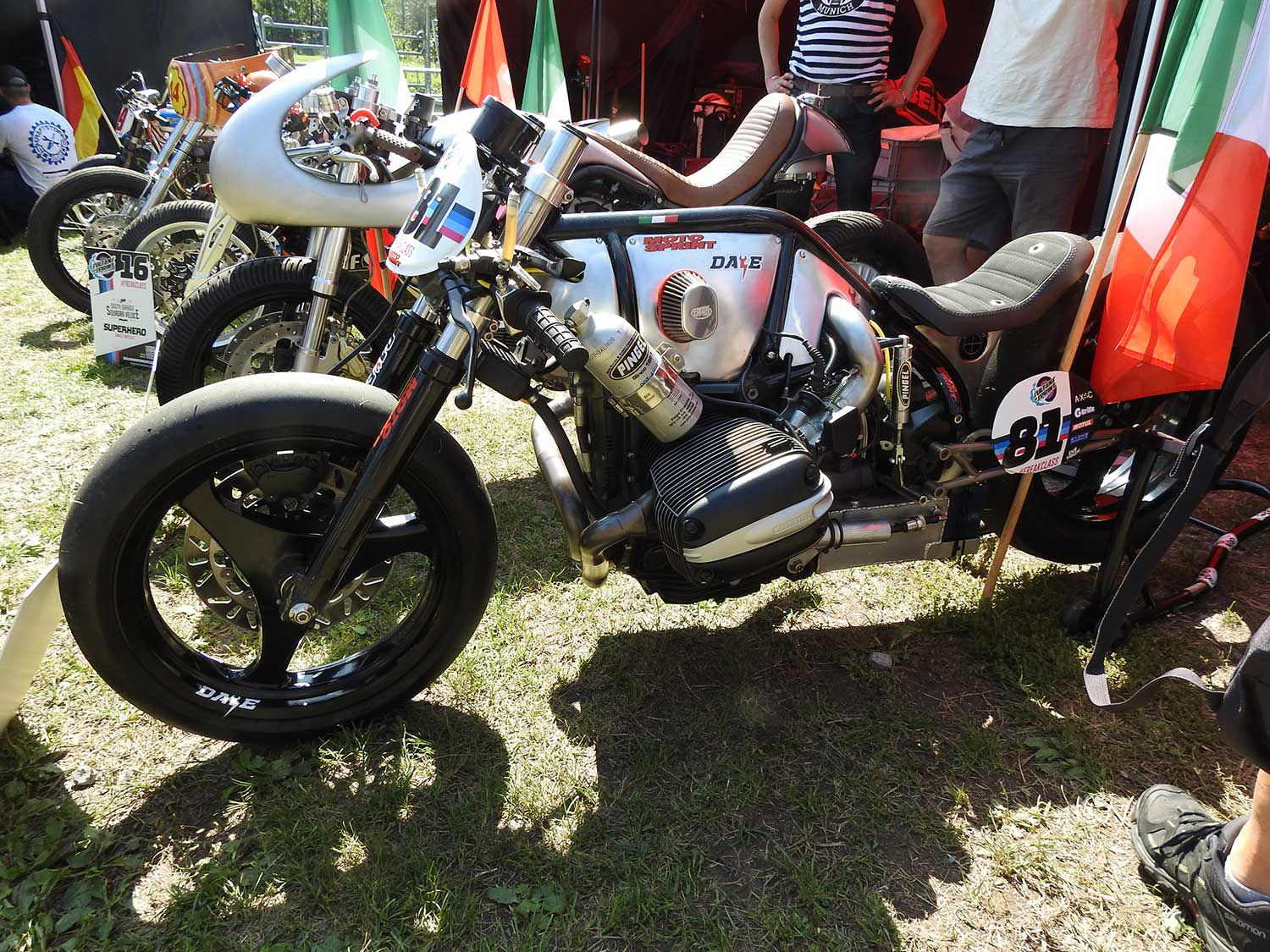 Things you can do to an old oilhead BMW engine. This Sultans of Sprint racer caught my attention in the competitors paddock.