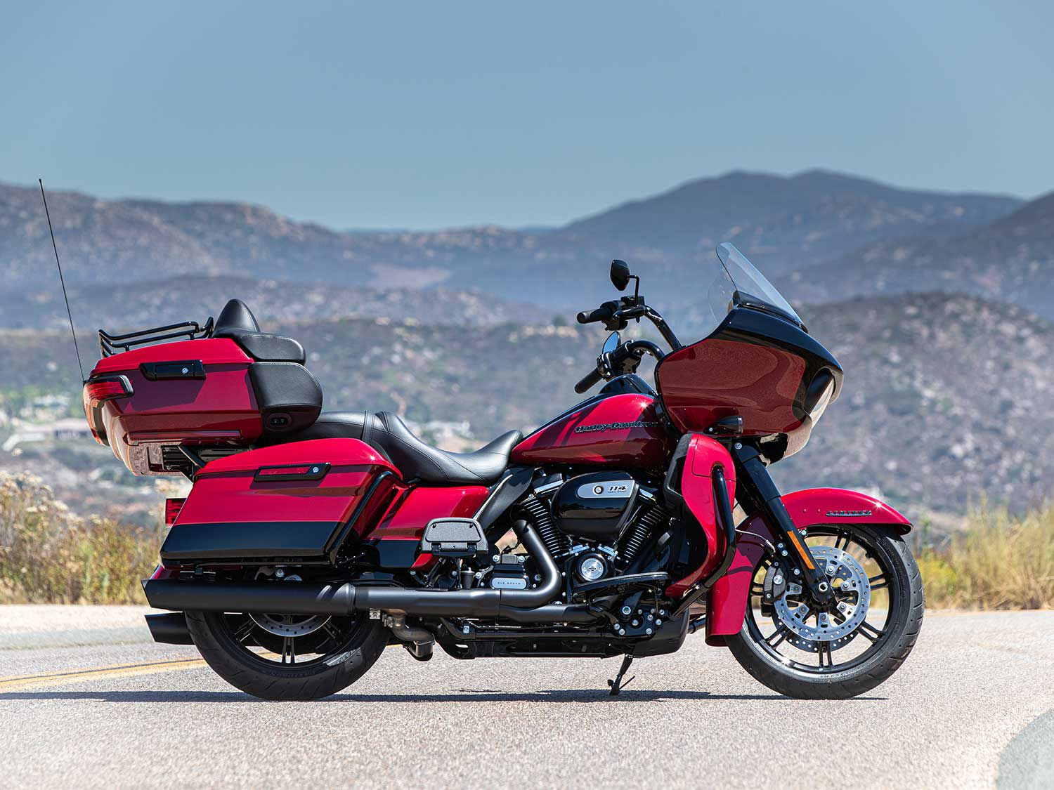 The 2020 Road Glide Limited in Billiard Red with Vivid Black with Black Finish.