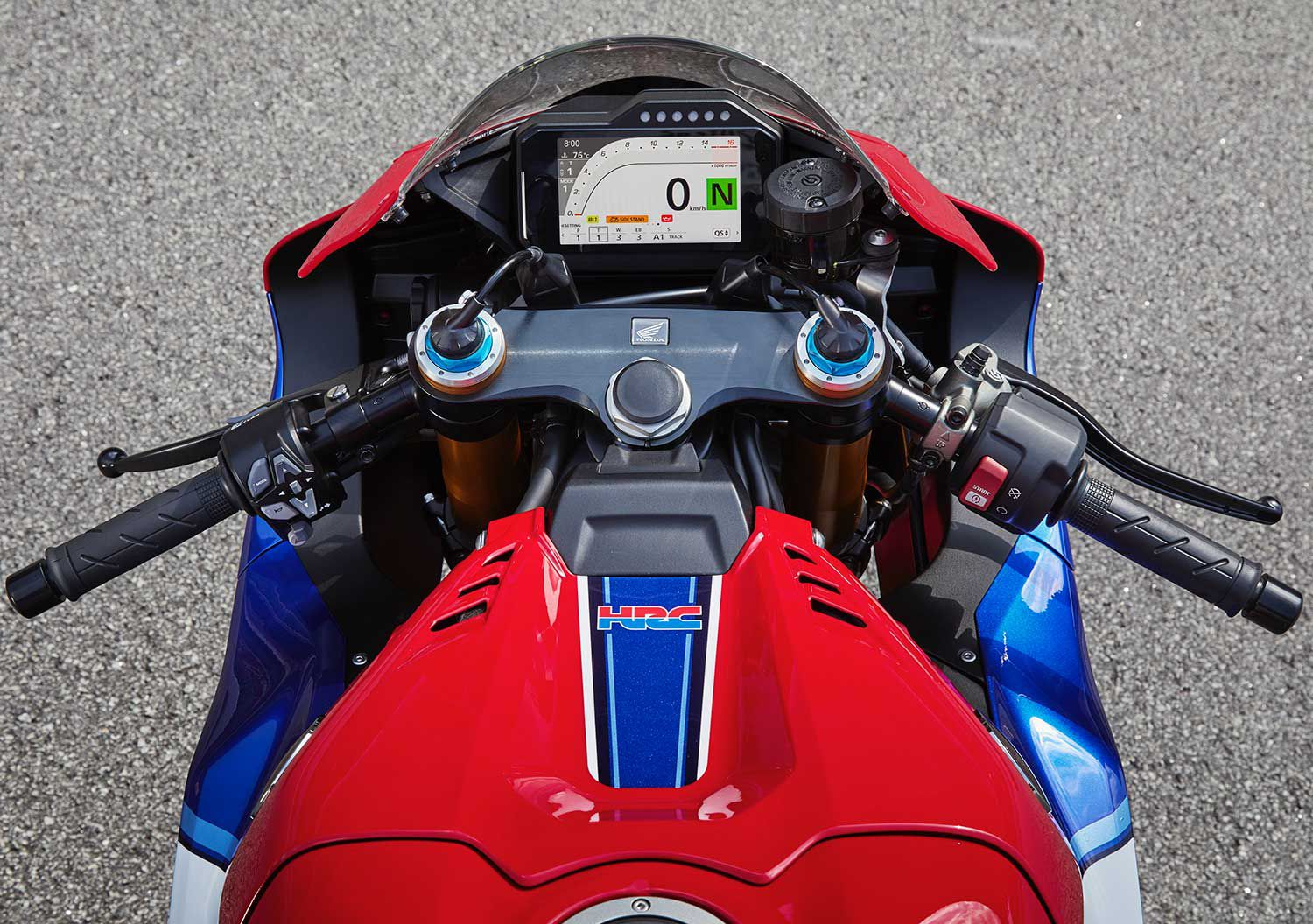 The ergonomics on the 2021 CBR are noticeably more aggressive. Specifically, the clip-ons are set lower and at a wider angle, and the front profile of the motorcycle has lowered for more effective aerodynamics.
