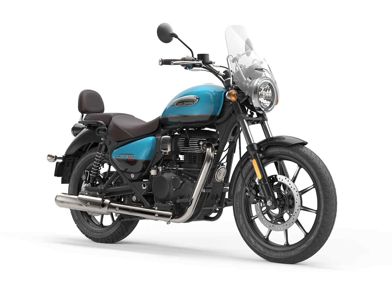 The Royal Enfield Meteor in Supernova Blue.