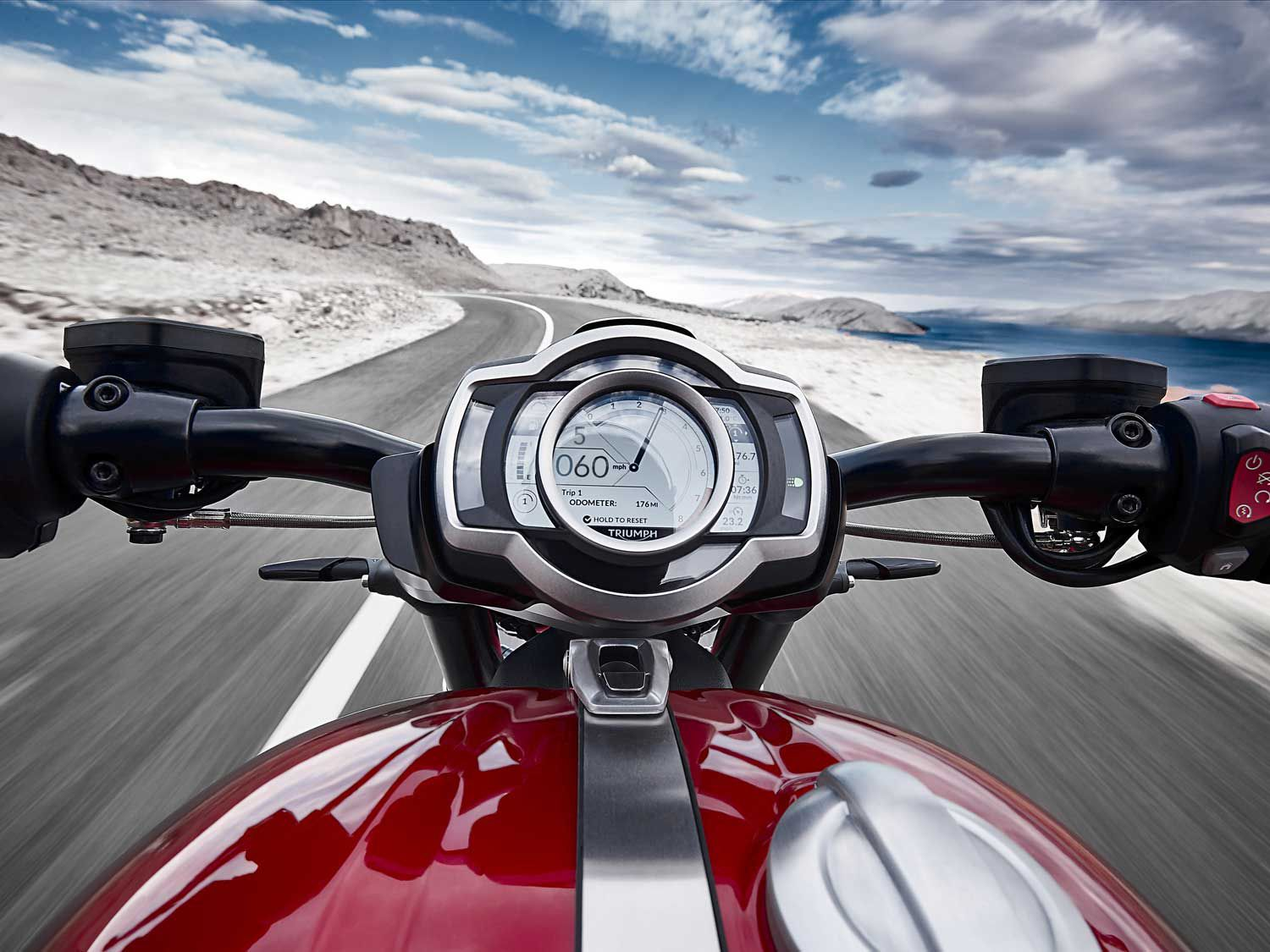 Triumph's all-new TFT display is customizable, and a Bluetooth connectivity package is now available as an optional accessory.