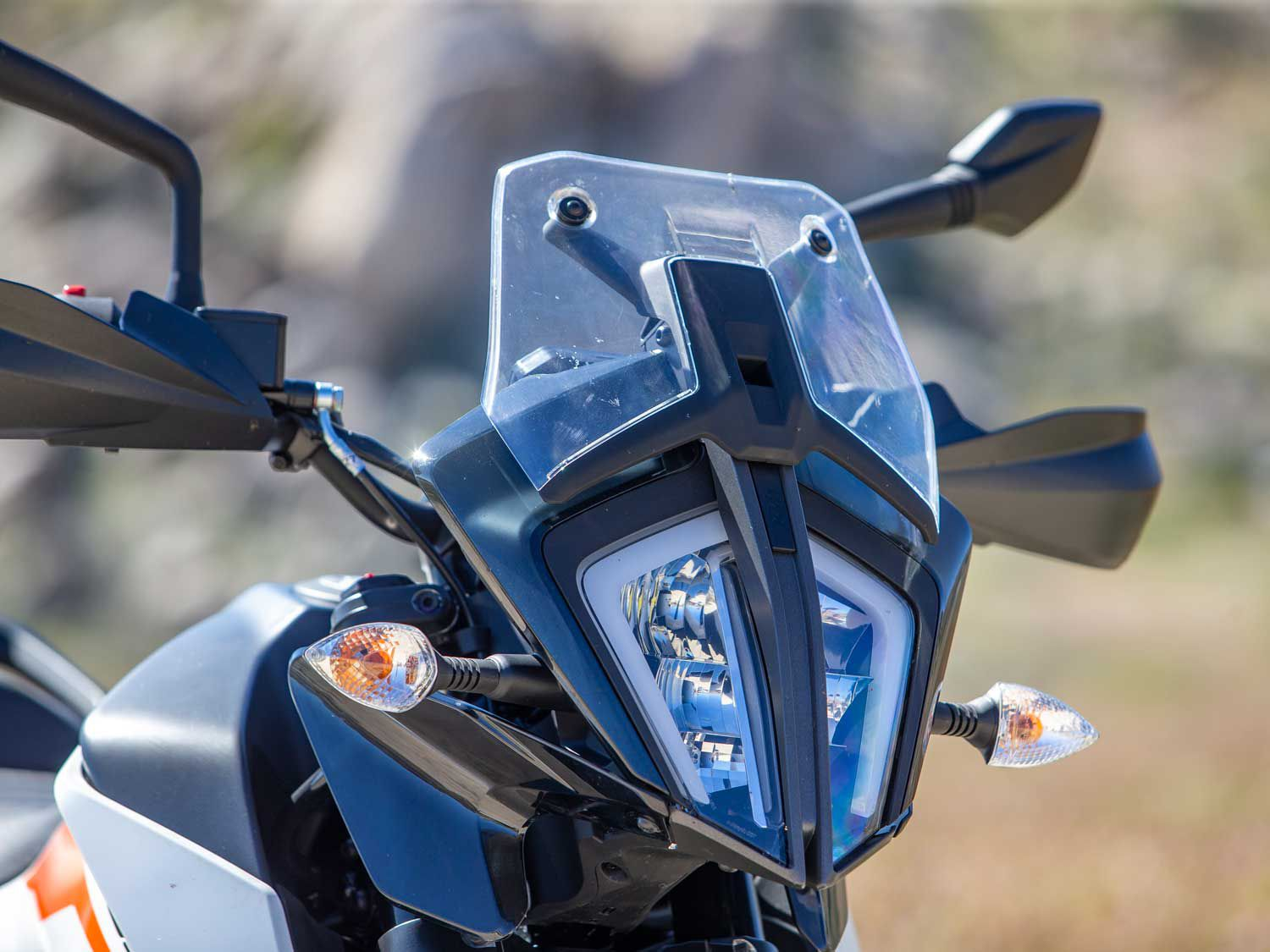 The 390 Adventure is a great-looking motorcycle when viewed at any angle. A bright LED headlamp does a fantastic job illuminating dark streets.
