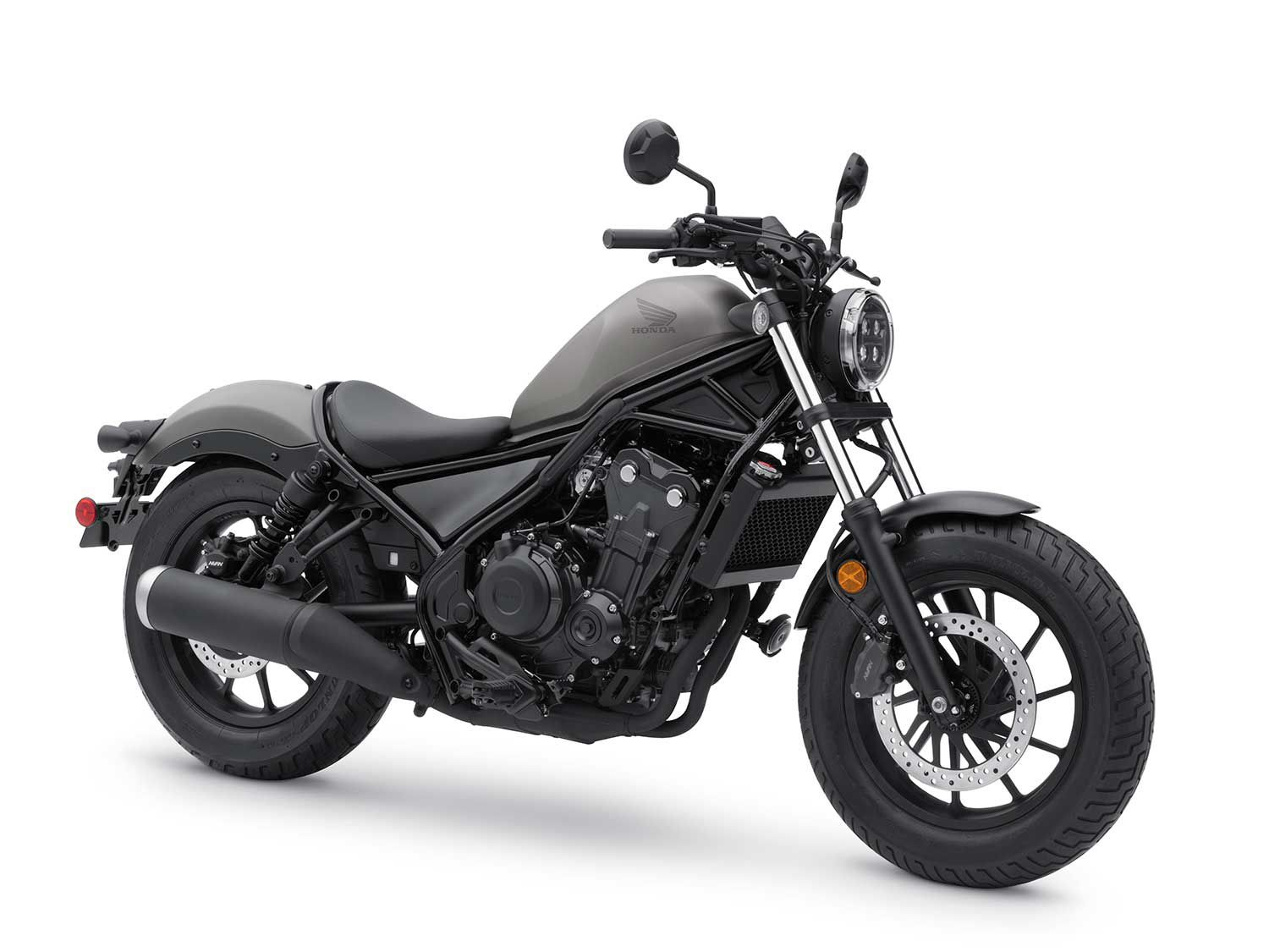 The Honda Rebel 500 comes into 2020 with updated styling, suspension internals, and this Matte Armored Silver paint scheme.