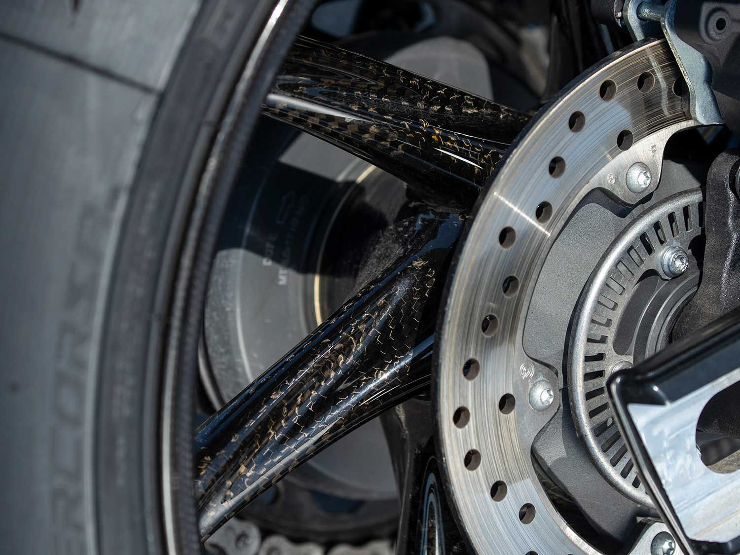 The S 1000 RR is the first production sportbike to benefit from carbon fiber wheels as an option from the factory.