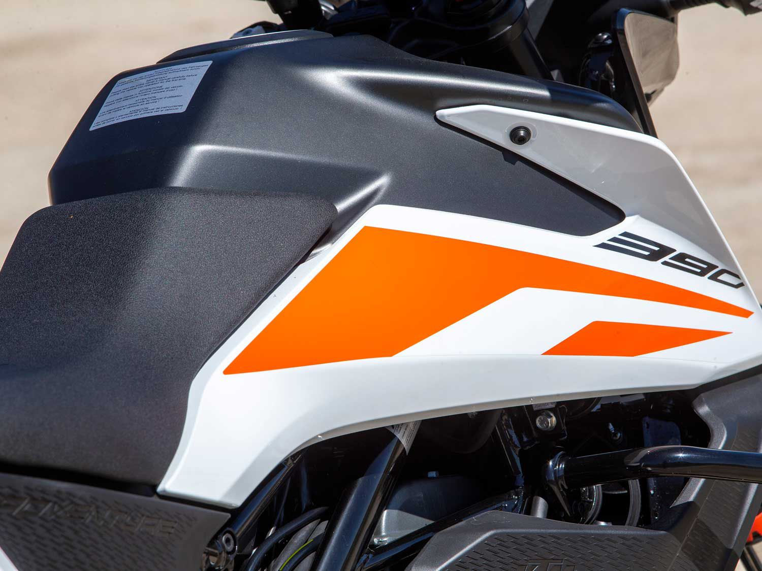 The 390 Adventure carries 3.8 gallons of fuel, which nets a range of more than 200 miles.