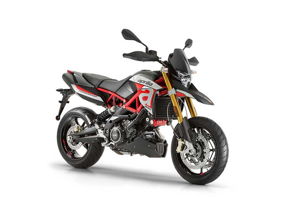 One of the largest supermotos in terms of cc's, the 2019 Aprilia Dorsoduro 900 brings some on-road/off-road fun to the racier Aprilia lineup.