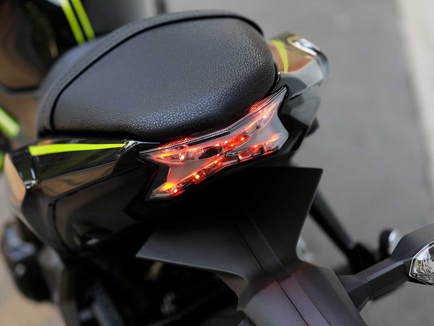 Kawasaki's classic 'Z' naked bike heritage is stamped into the LED taillight.