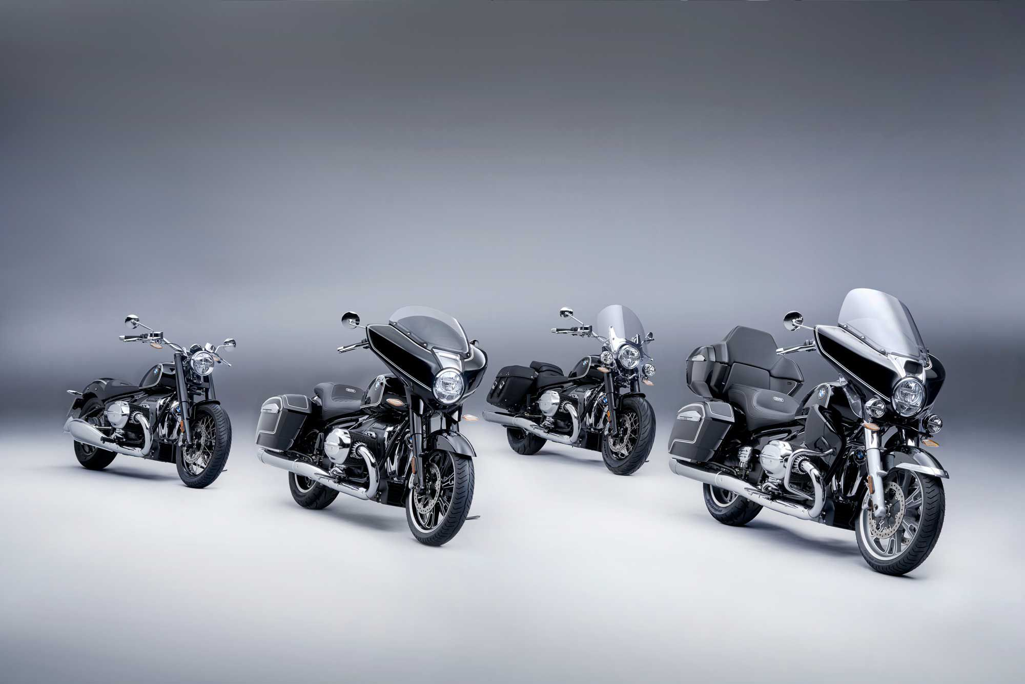 The family of BMW cruiser, including the R 18 and R 18 Classic along with the new R 18 B and R 18 Transcontinental.