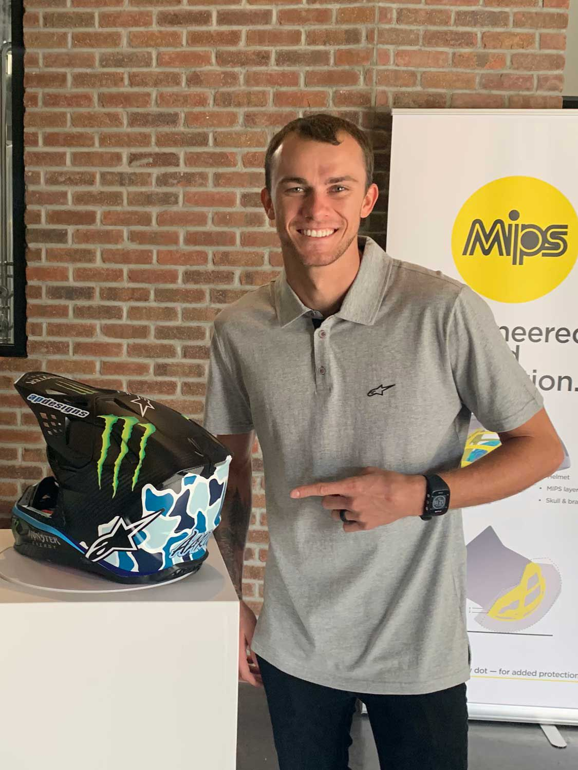 Aaron Plessinger was on hand to debut his new MIPS-equipped lid.