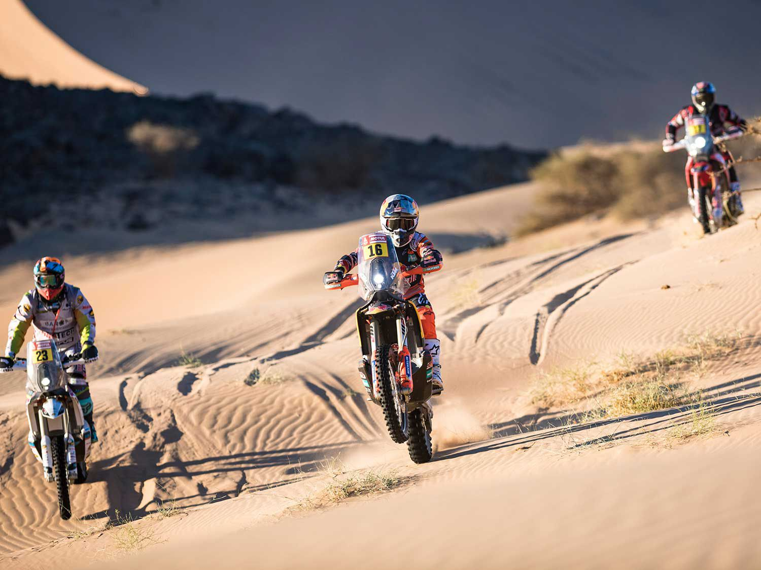 Red Bull KTM Factory rider Luciano Benavides (Argentina) at the finish line of Stage 3 of 2020 Dakar Rally at Neom.