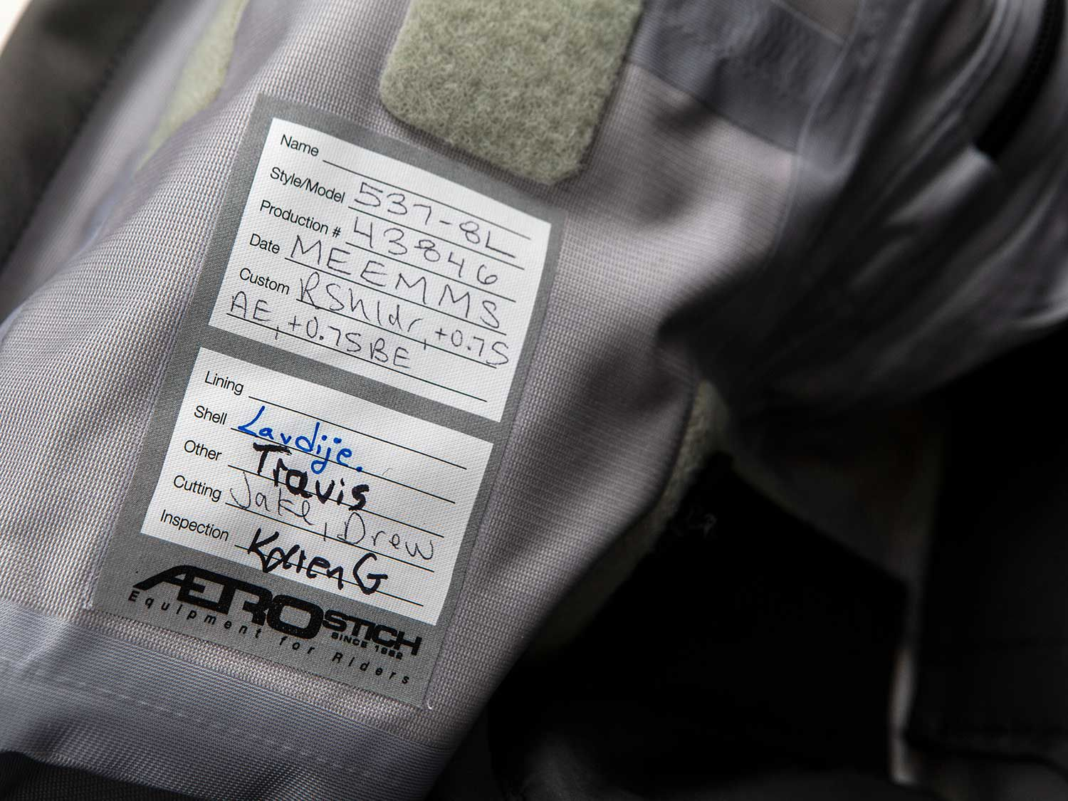 It takes a team to sew, seal, and test. An interior label is even signed by the men and women who stitched that specific suit here in the United States. Aerostich proudly sells direct to consumers, always has and always will.