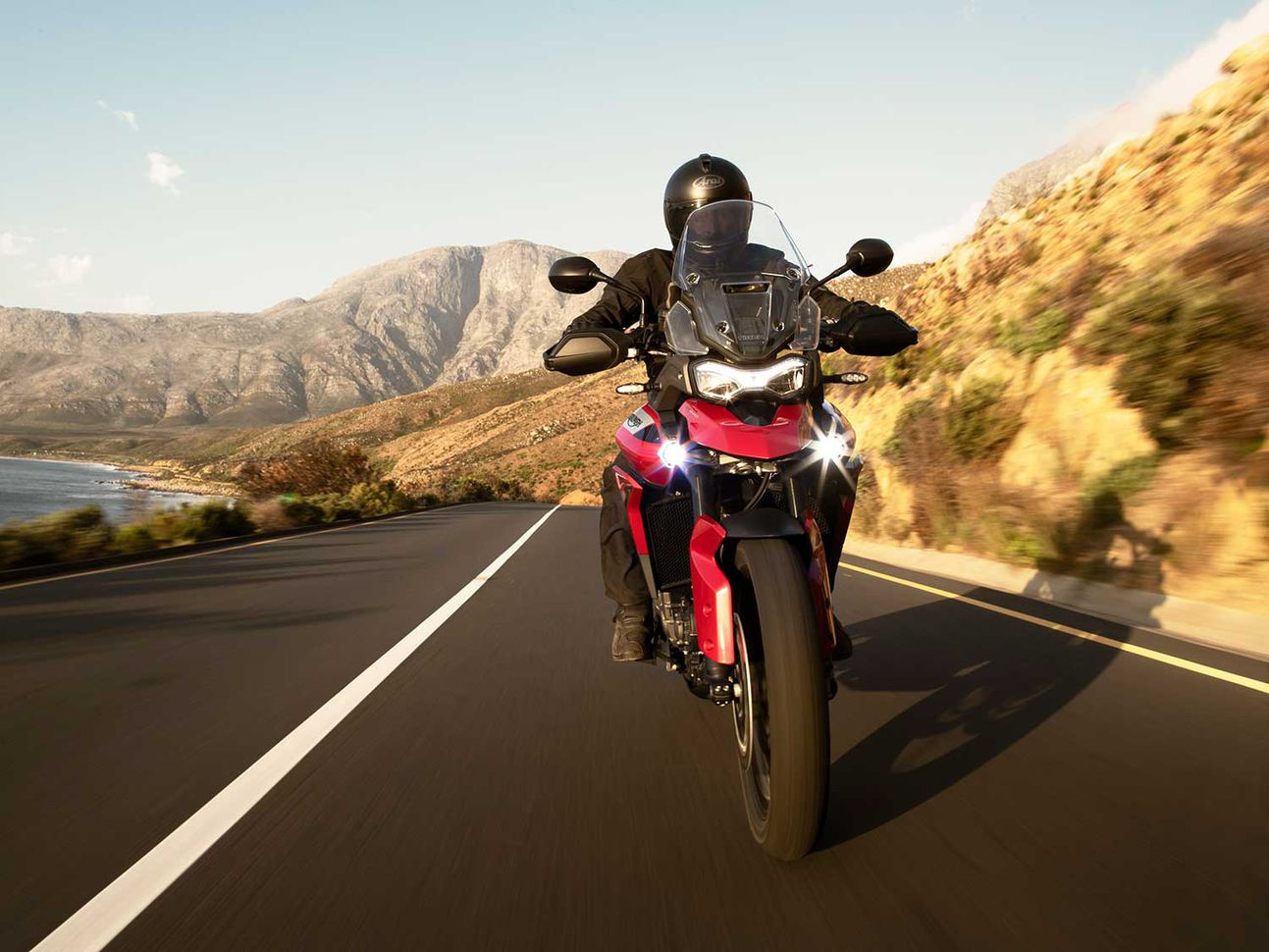 Triumph Motorcycles shows off its new Tiger 900—a middleweight-size adventure-touring bike.