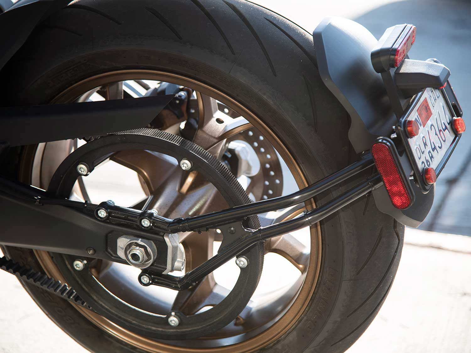 A giant rear belt sprocket betrays Zero's EV configuration.