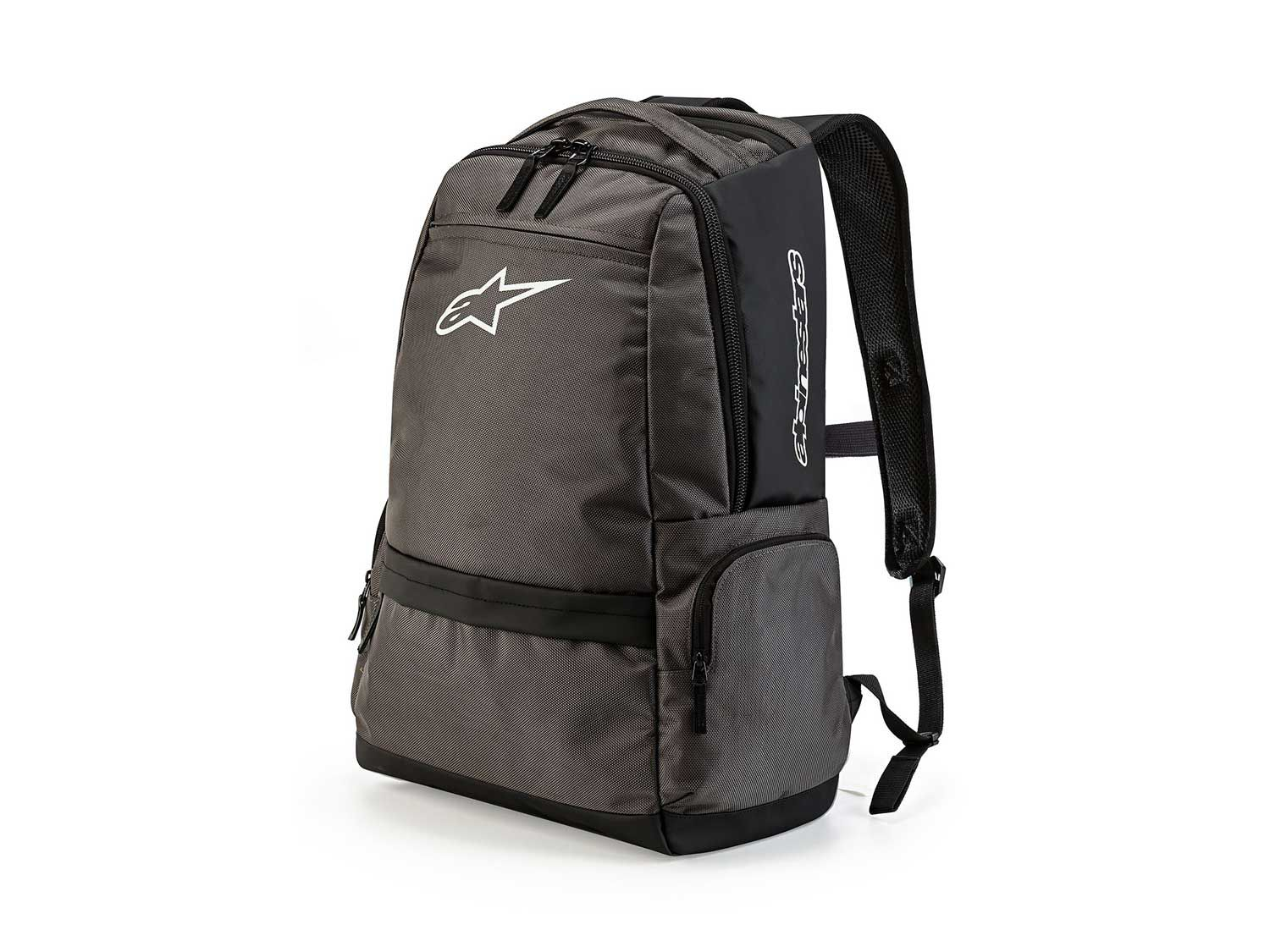 """The <a  href=""""https://www.amazon.com/Alpinestars-Black-Standby-Backpack-Default/dp/B074Q3BY9S/ref=as_li_ss_tl?ie=UTF8&linkCode=sl1&tag=mcy01-20&linkId=557e41010abfceb9909191131b3052f1&language=en_US"""">Standby Backpack</a> provides 21 liters capacity and is made from ballistic nylon fabric with tarpaulin elements incorporated. It has a three-quarter opening laptop compartment, internal organization pockets, an internal padded wall for comfort, and Airmesh padded shoulder straps."""