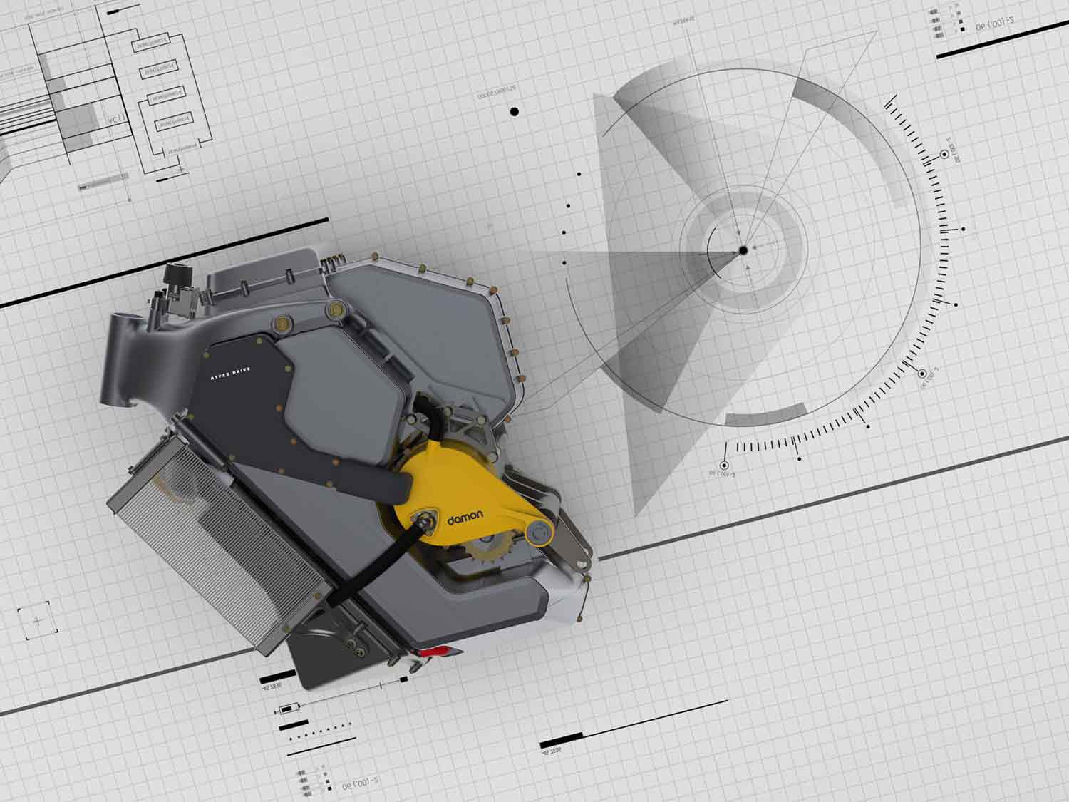 The HyperDrive is a load-bearing battery and motor unit that Damon plans to use in forthcoming motorcycles.