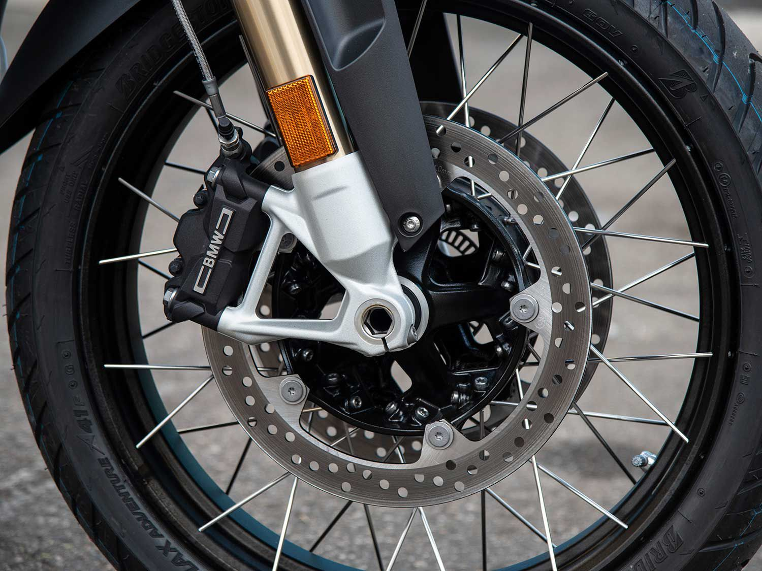ABS on the radially mounted 4-piston brakes are easily defeatable, enabling quick dirt capability— or tail slides on tarmac.