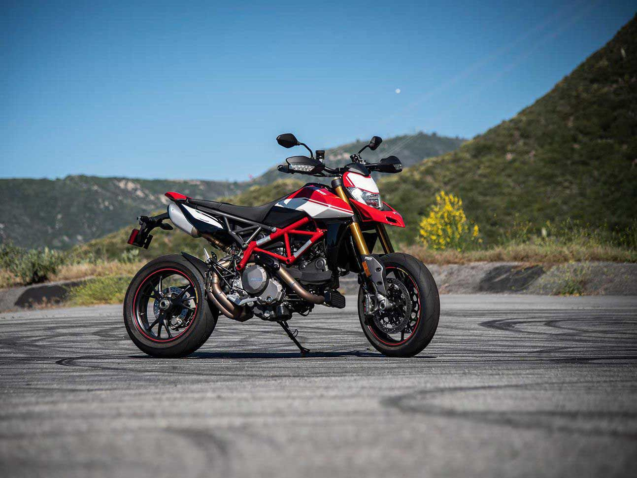 Ducati's Hypermotard 950 SP is on hand for a little bit of fun.