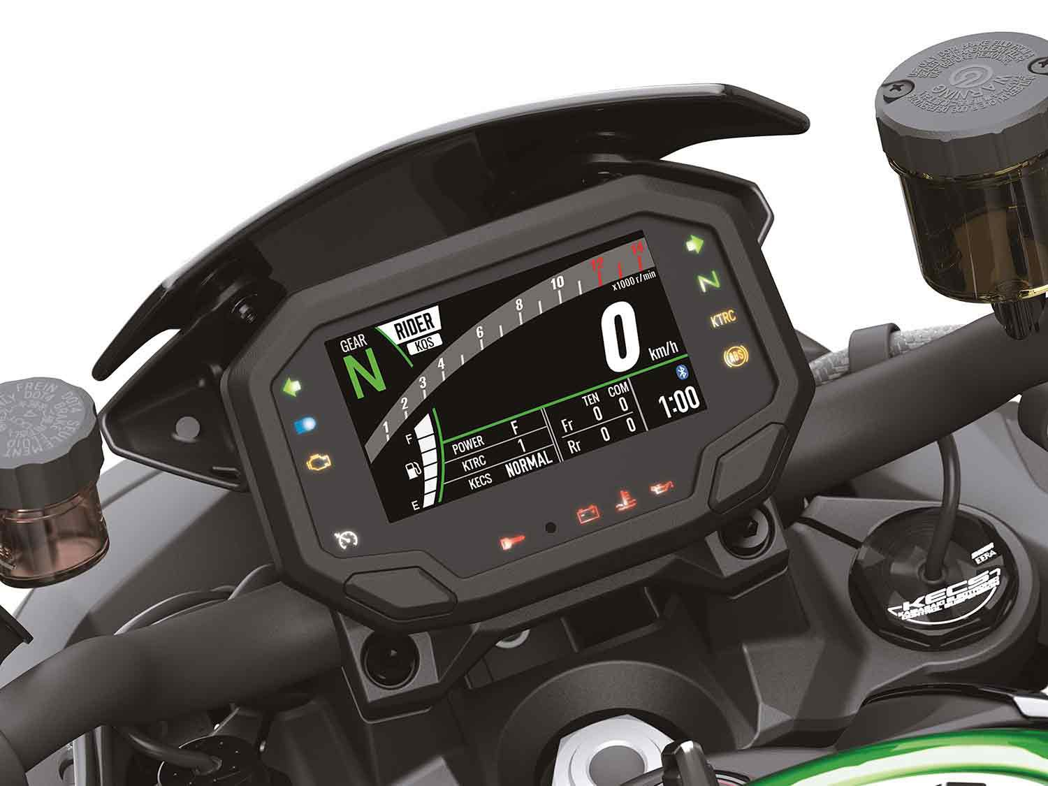 The Z H2 SE's 4.3-inch TFT dash has all the information you need, and can be adjusted to your liking.