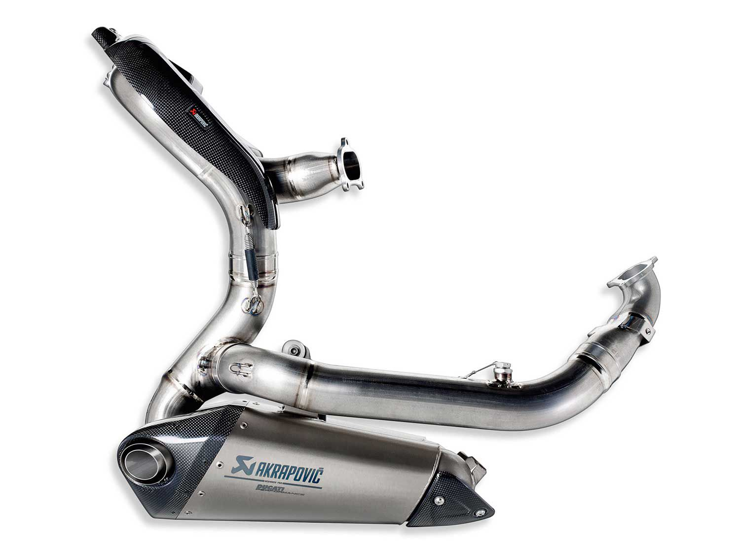 This is the aftermarket exhaust option, but shows the shape of the pipe clearly. Note the extra loop the rear cylinder's header has to create (under the seat, famously) in order to match the length of the front.