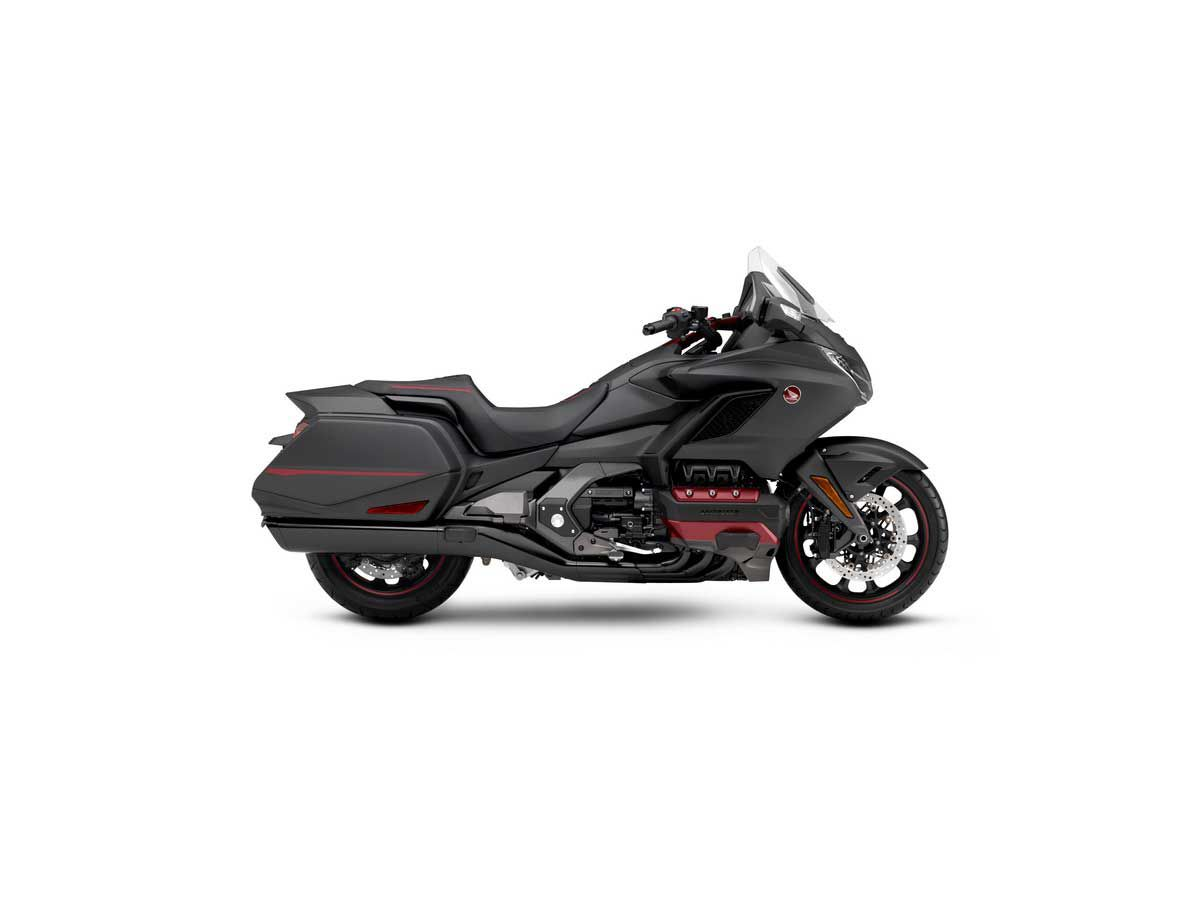 Looks rather sporty, eh? This is the Matte Black Metallic colorway. The lack of a top box means this isn't a Gold Wing Tour model, making it more of a bagger than a, er, tourer.