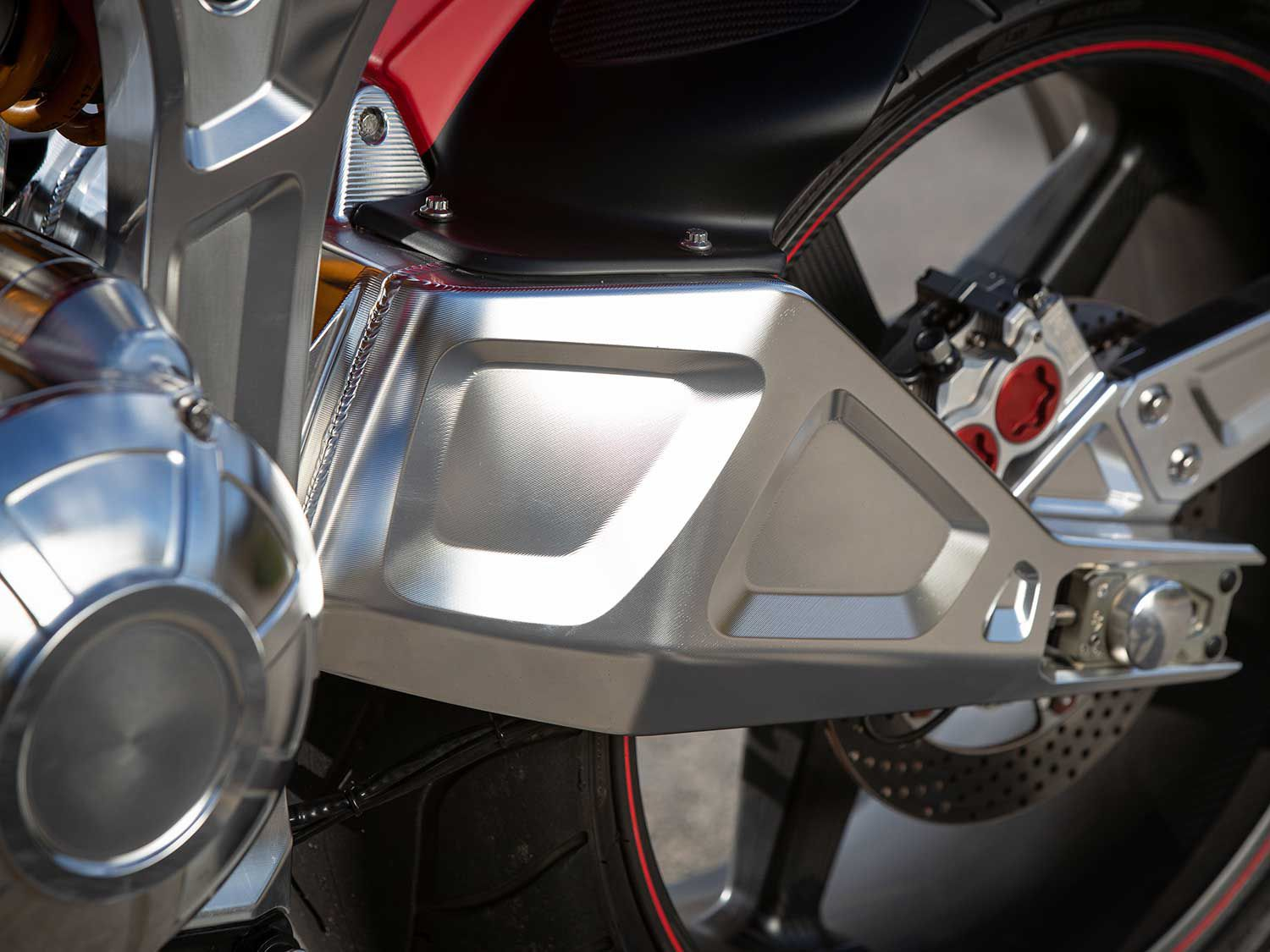 The new billet aluminum swingarm on the KRGT-1 is designed and manufactured by Arch, increases rigidity, and reduces unsprung weight.