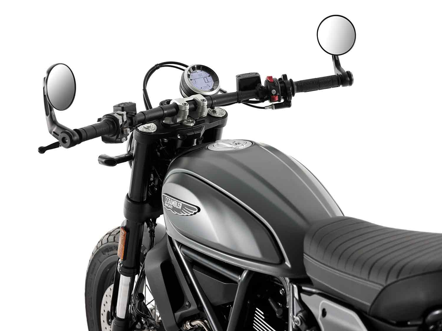 The Nightshift borrows its handlebars from the 1100 PRO and its mirrors from the Cafe Racer.