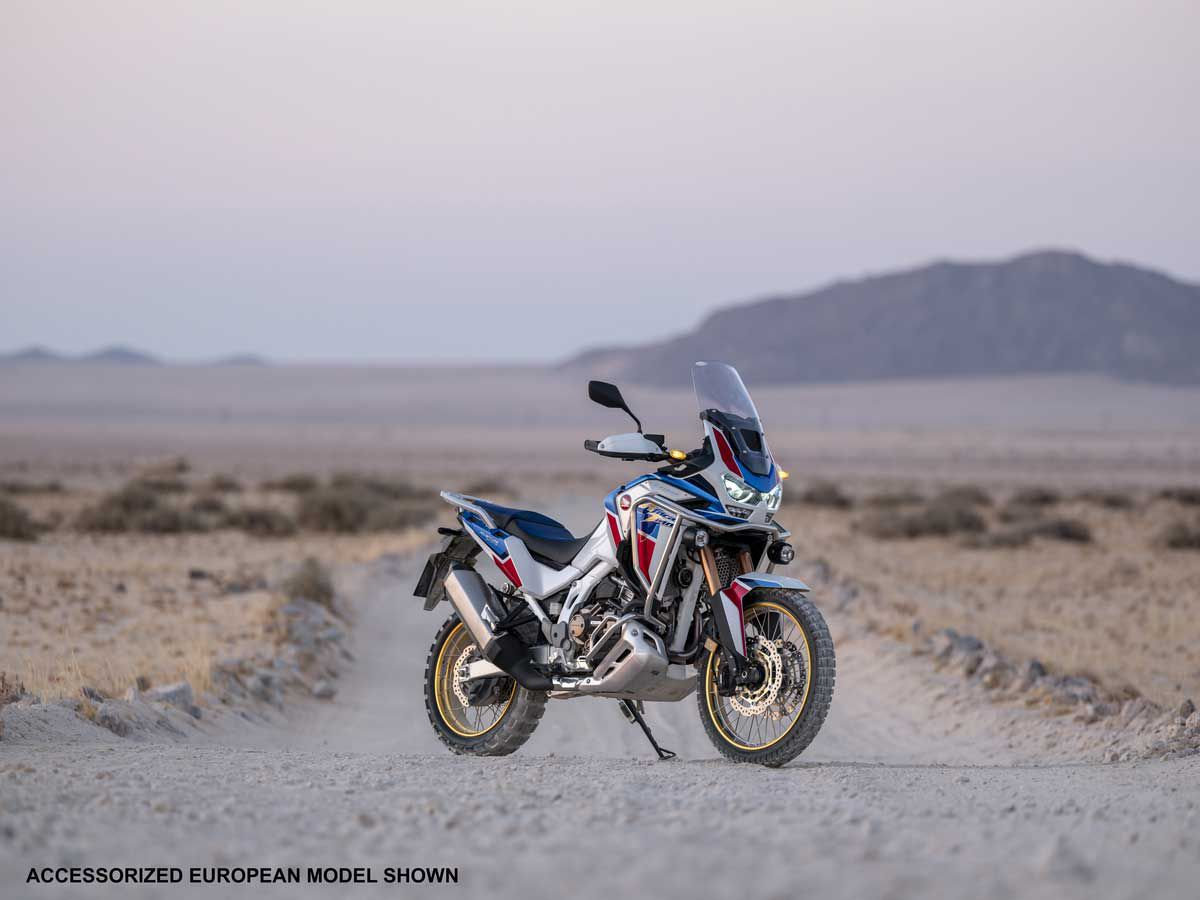 The 2020 Honda Africa Twin Adventure Sports SE will only be offered in the Pearl Glare White and Blue livery with gold spoked rims.