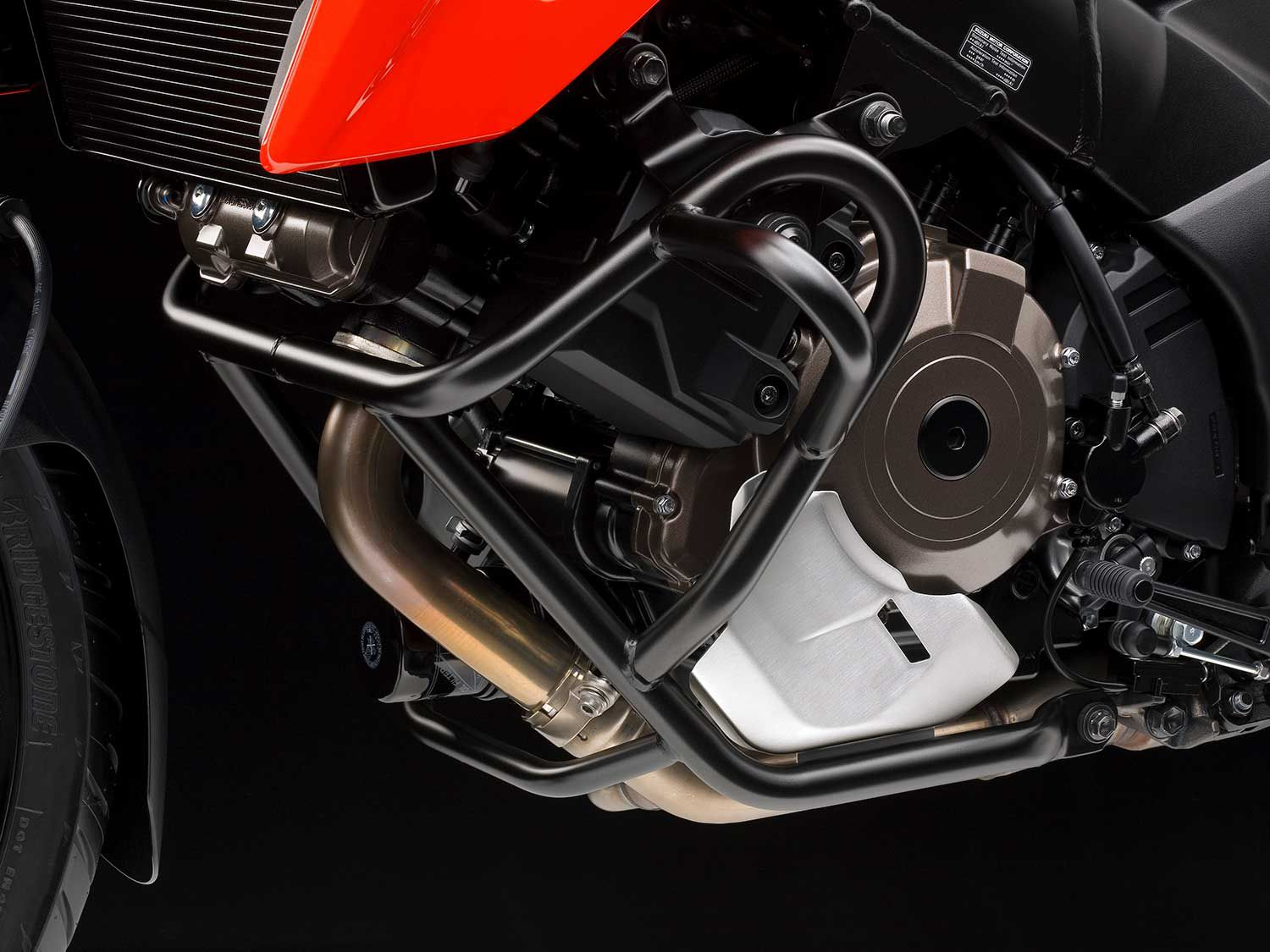 The 1050XT's crashbar and engine cowl. The oil filler is very exposed so riders considering regular off-pavement fun will want to grab a sump guard from the Suzuki accessory catalog or aftermarket.