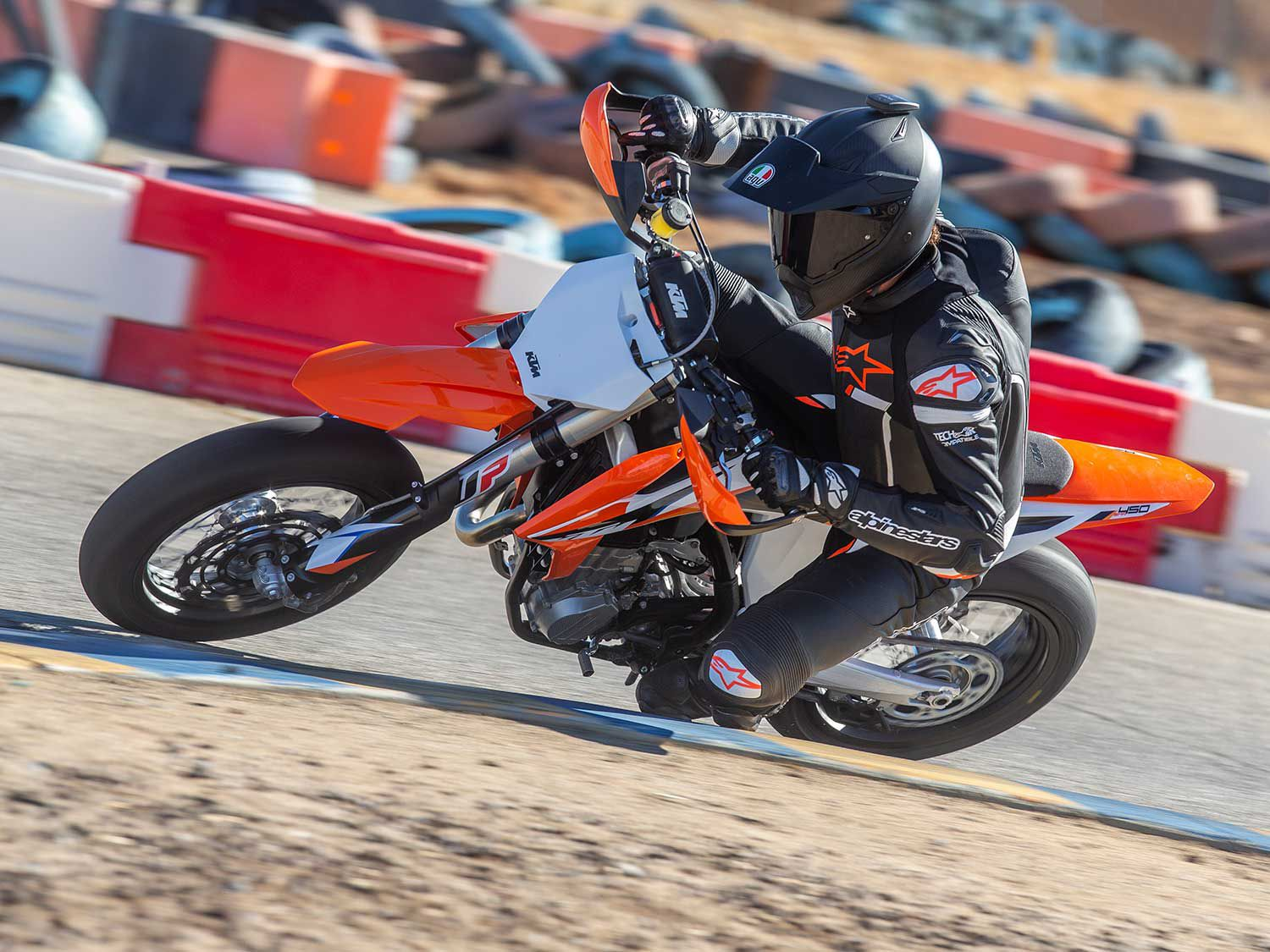 You'll be hard pressed to ride a more maneuverable sport-oriented road motorcycle compared to the 232-pound 450 SMR.