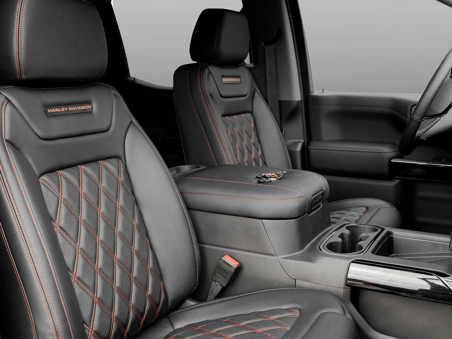 The Harley-Davidson GMC features beautiful hand-stitched leather seats and matching interior designed by Tuscany Motor Co. with plenty of strategically placed H-D badging.