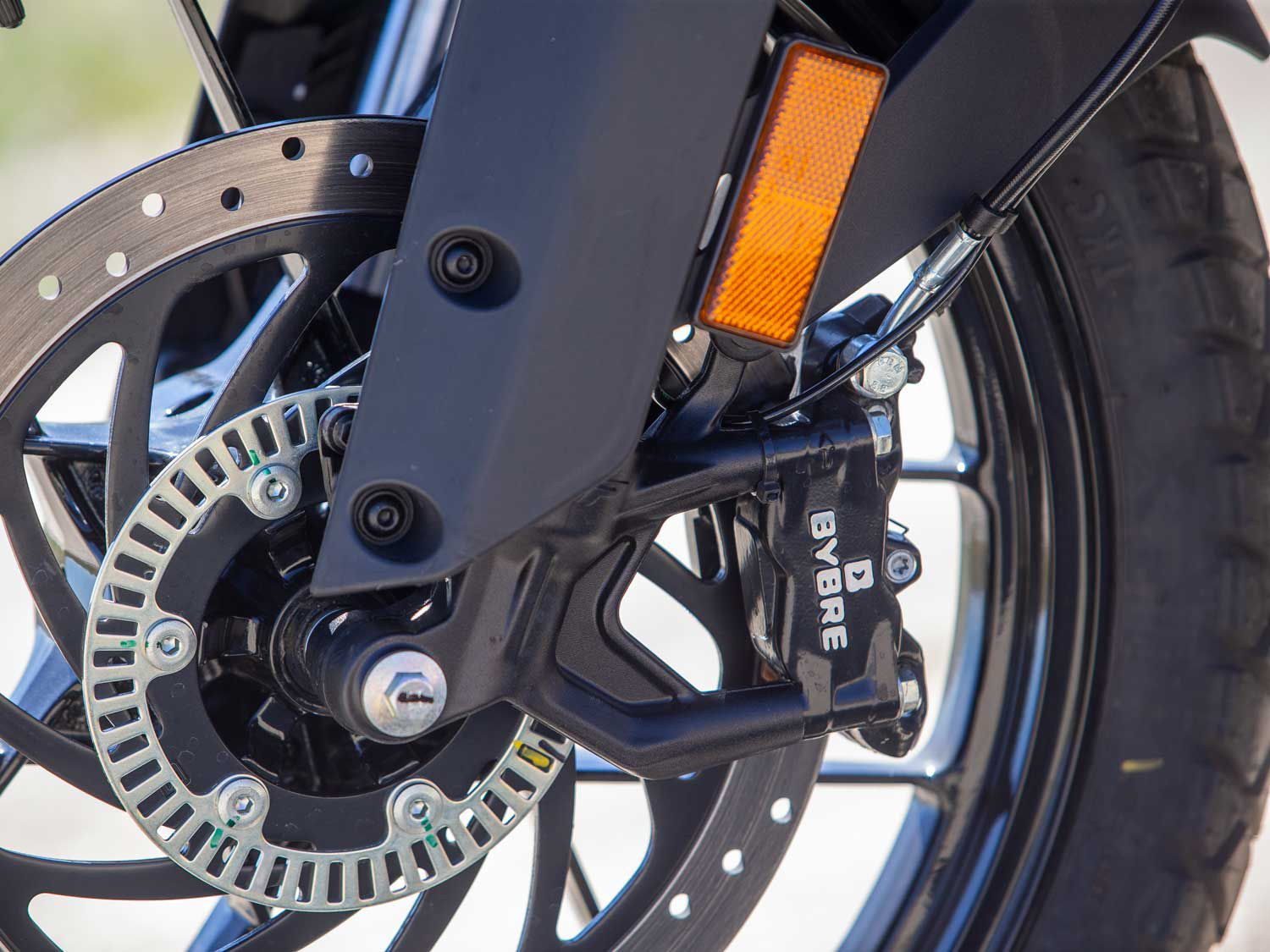 A radial-mount four-piston Bybre (Brembo's Indian subsidiary) graces the front end of the 390. The brakes offer adequate feel and performance.