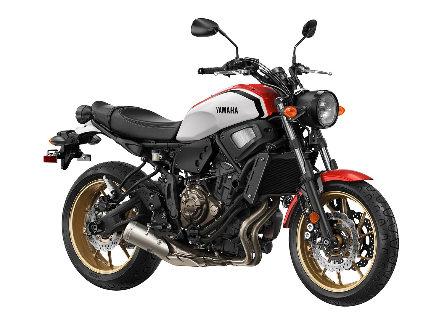 <h2>2020 Yamaha XSR700</h2> </br> The 2020 Yamaha XSR700 (shown) pulls many of its influences from the classic XS vintage motorcycles with exposed aluminum details, classically shaped tank, stepped seat, and classically styled headlight and taillight. The XSR900 will also come in the same color scheme.