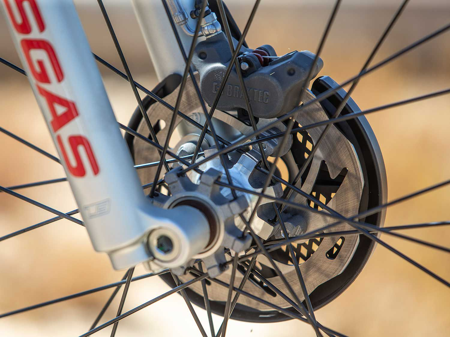 Powerful front and rear disc brakes aid in low-speed maneuvers. Although plenty powerful, the front brake didn't offer the amount of feel we expected.