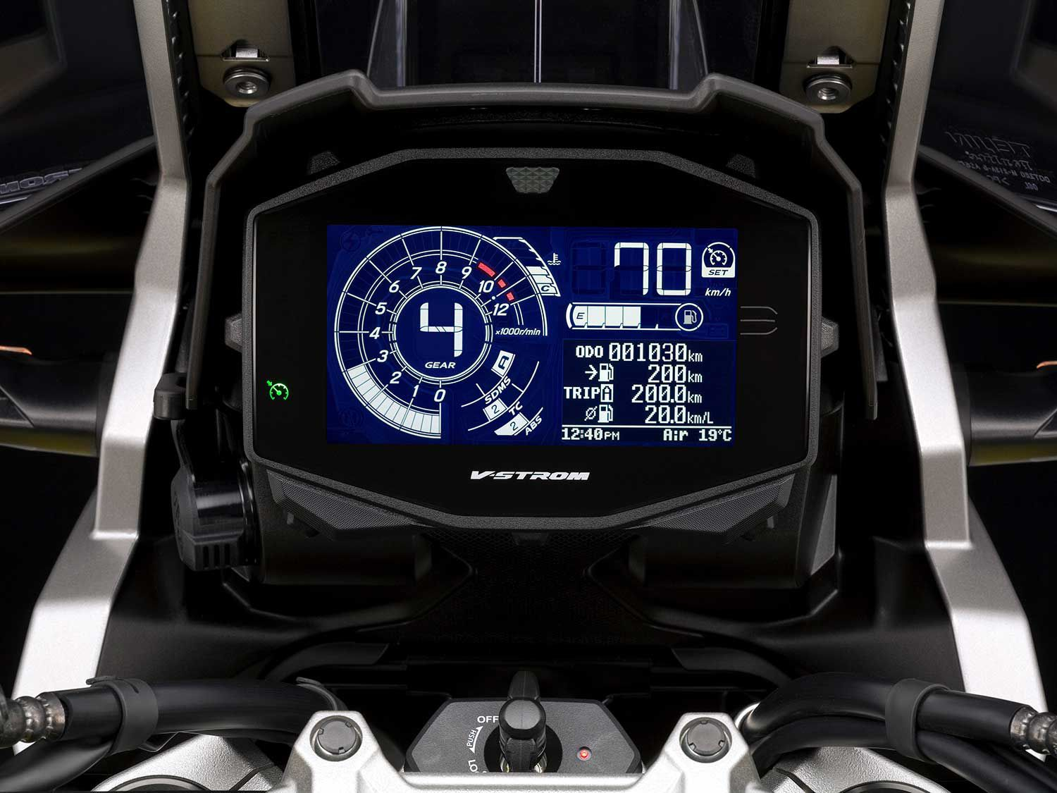 Even though the V-Strom is priced at the lower end of the market, it still could use a TFT dash. While TFT displays look correct to our smartphone-accustomed eyes, and analog gauges are, well, pleasingly analog, LCD screens look like the graphing calculators many of us used in high school calculus. Suzuki's human-computer interface isn't super intuitive and there are too few buttons that control too many things.