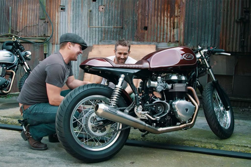 """<strong>Actor Ryan Reynolds:</strong> His passion for motorcycles is verbalized in the <a   href=""""https://www.cycleworld.com/2016/02/19/ryan-reynolds-and-his-triumph-thruxton-cafe-racer-built-by-kott-motorcycles/""""><em>Invite the Unexpected</em> film by Bryan Rowland</a>, where he states that """"I feel 100 percent that there is a spiritual connection to riding a bike. You're at play with the environment, you are in essence, I think, meditating."""""""